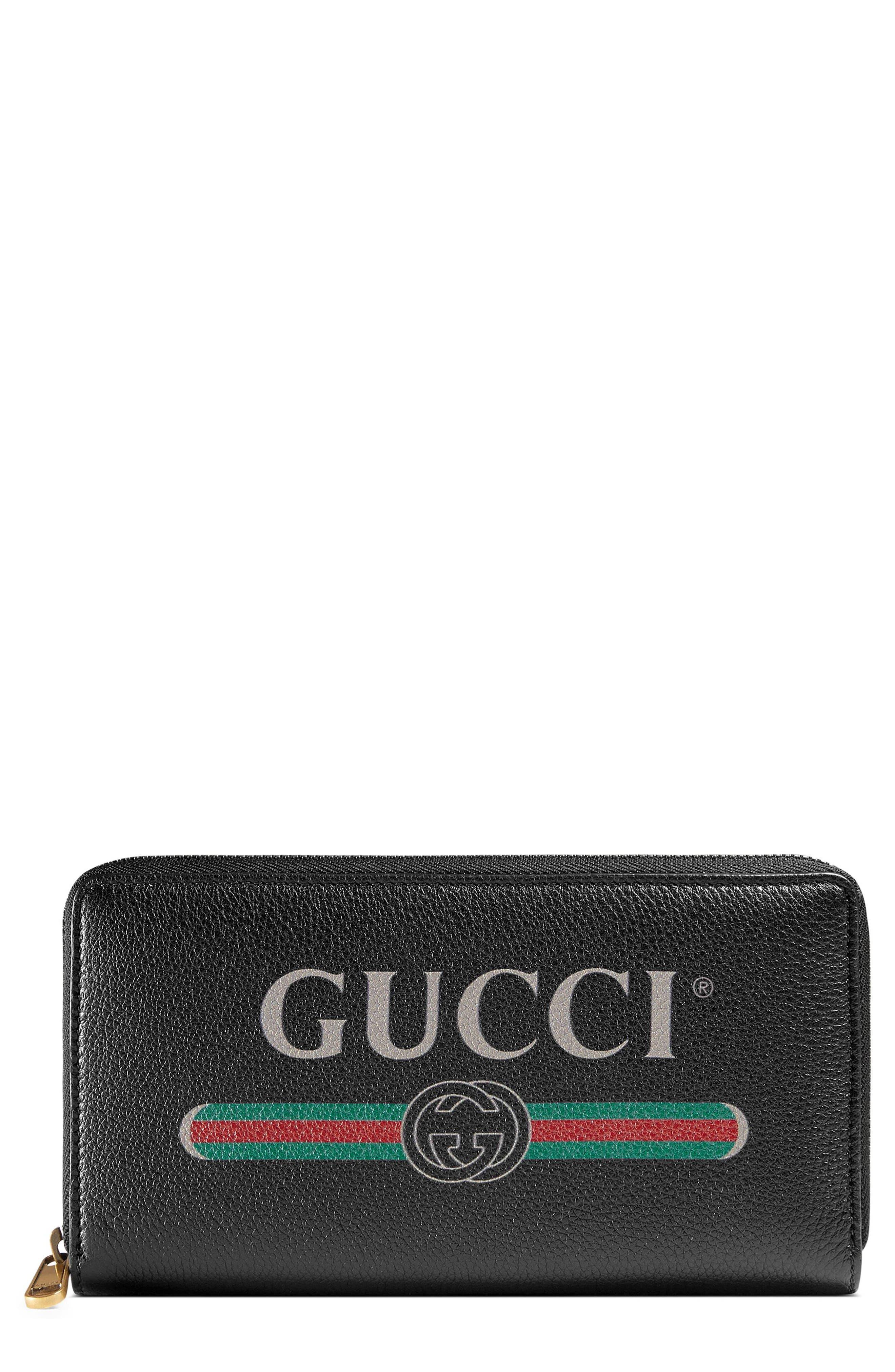 Logo Leather Zip-Around Wallet,                         Main,                         color, Nero
