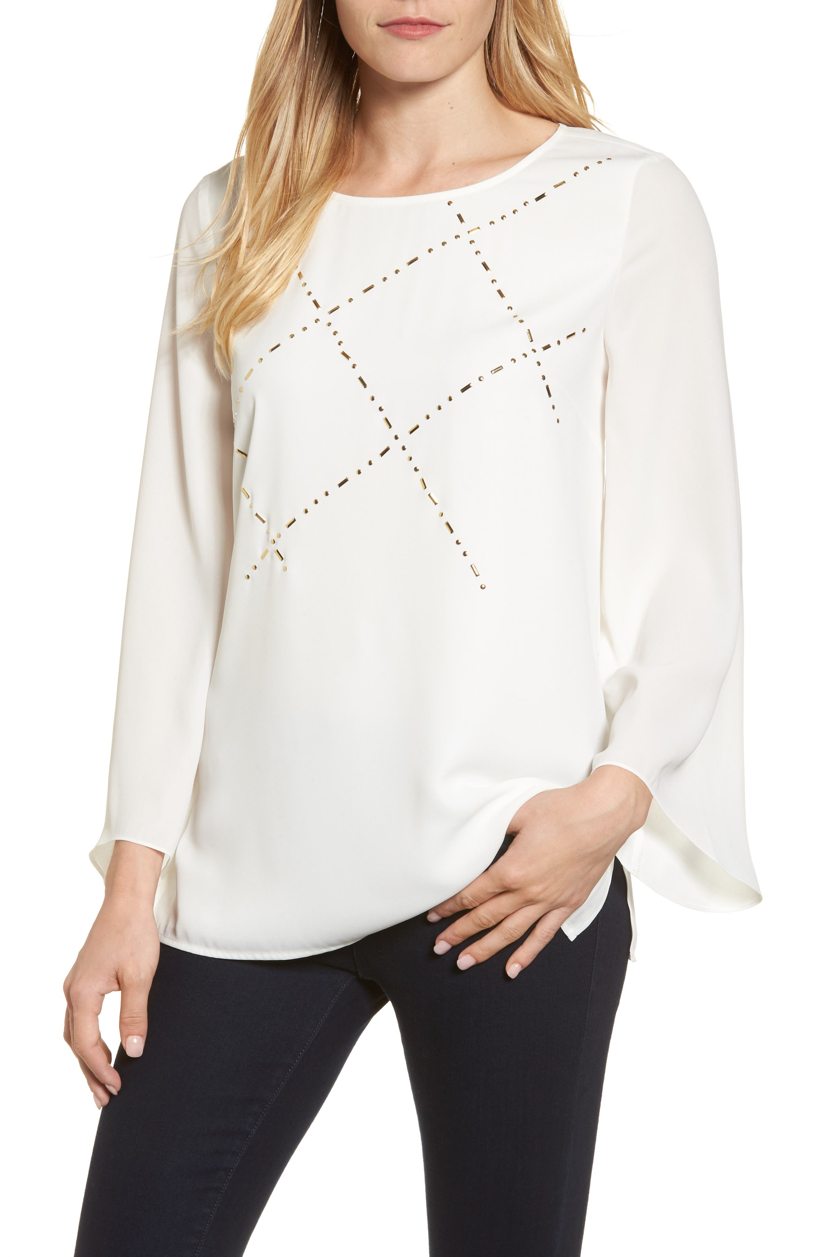 Studded Blouse,                             Main thumbnail 1, color,                             New Ivory