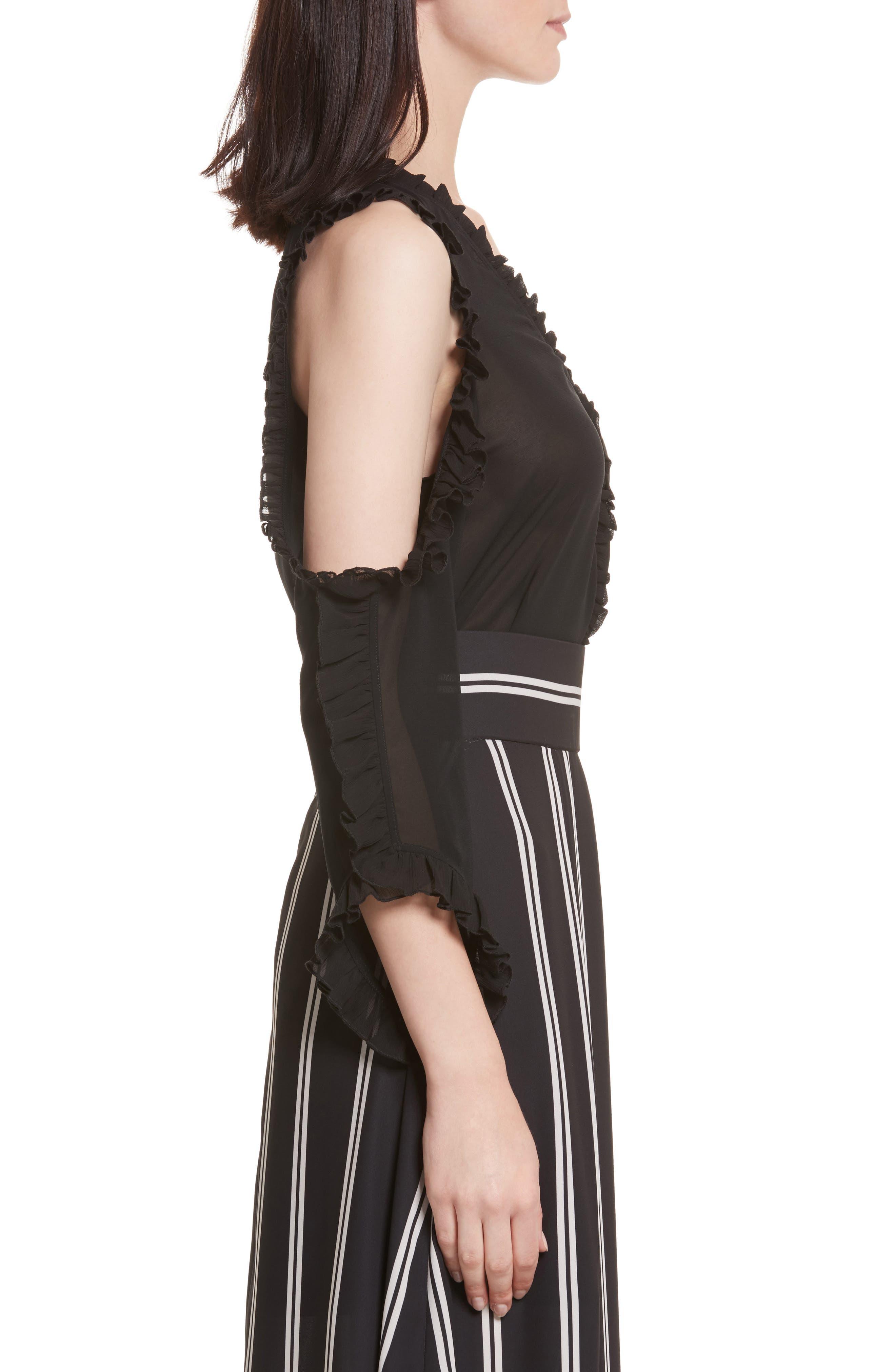 Claudette Cold Shoulder Blouse,                             Alternate thumbnail 3, color,                             Black
