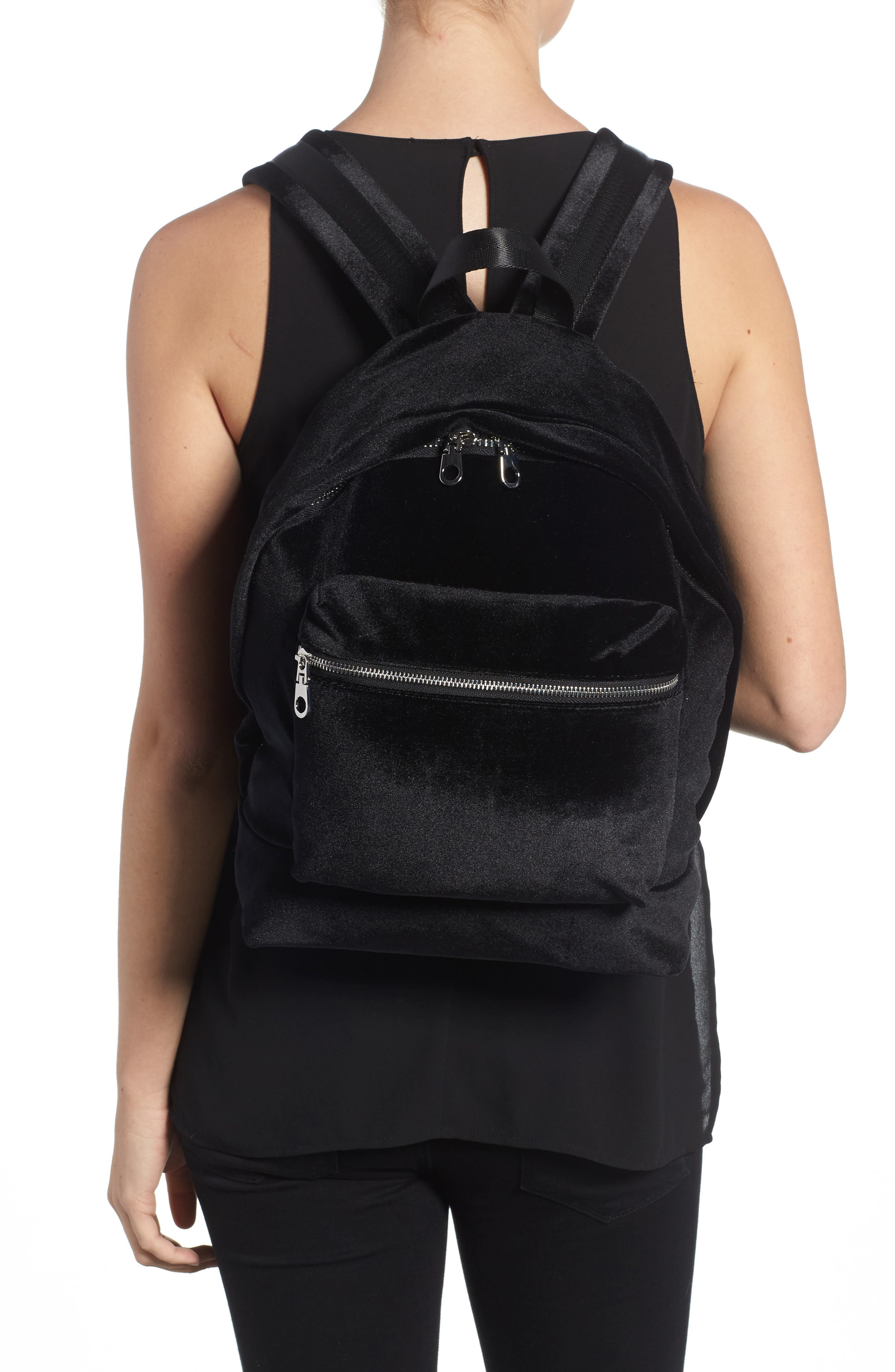 Velvet Backpack,                             Alternate thumbnail 2, color,                             Black