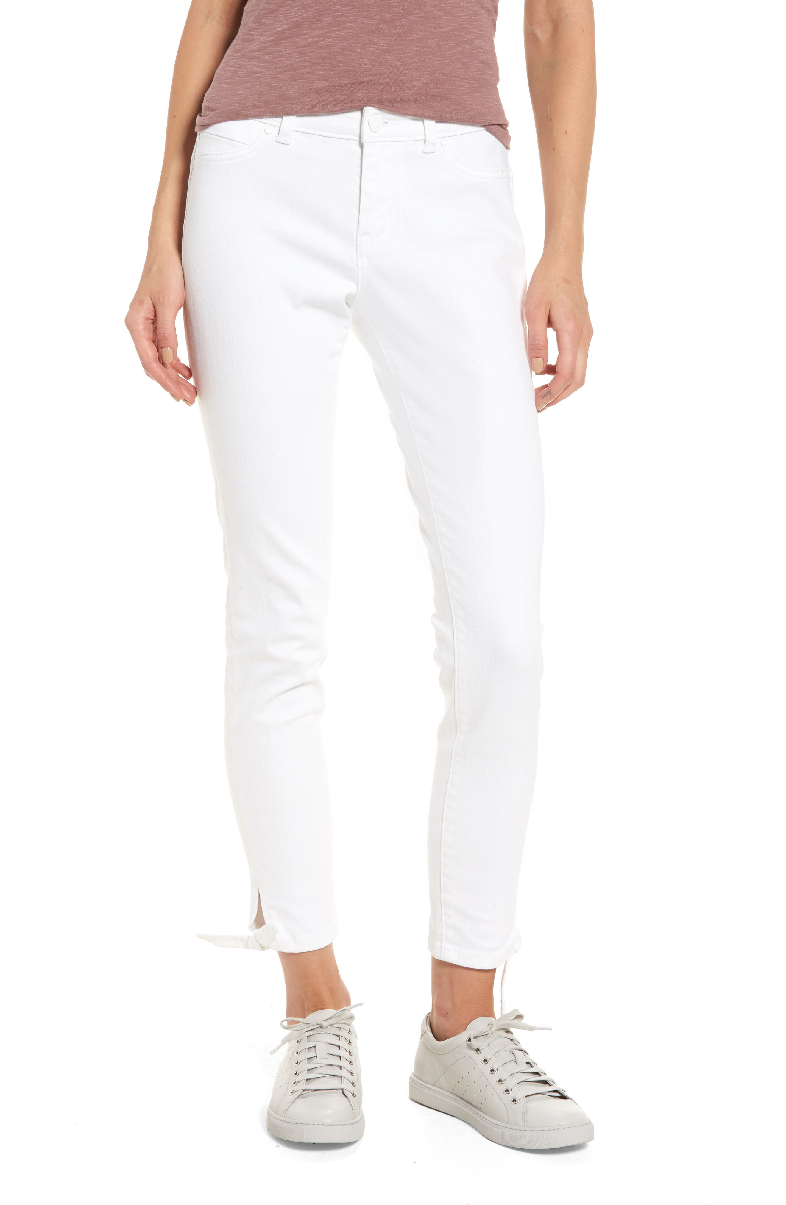 Tie Ankle Skinny Jeans,                             Main thumbnail 1, color,                             White