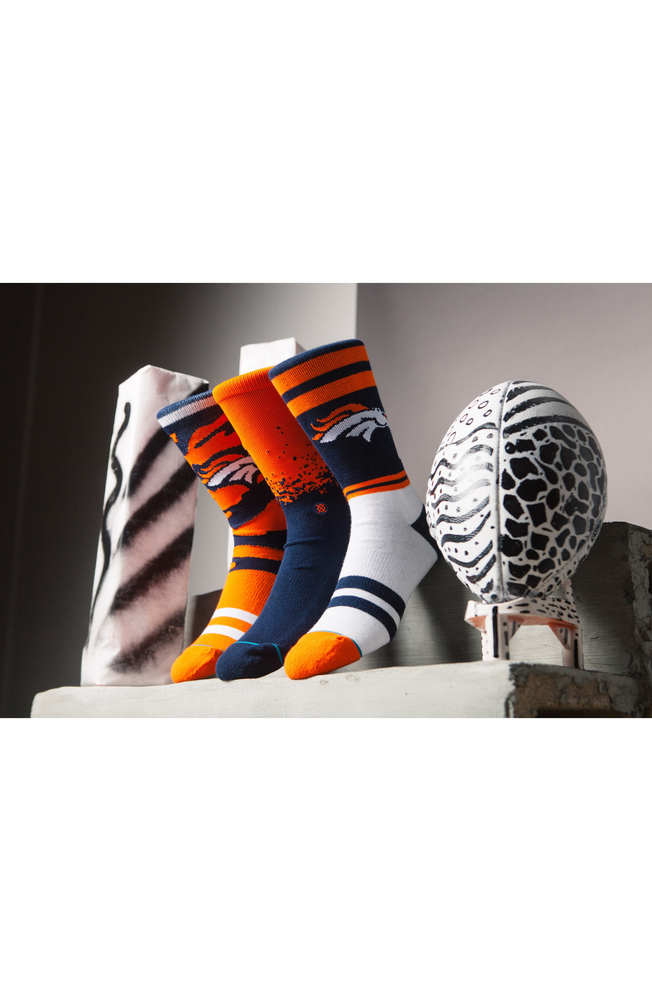 Denver Broncos - Fade Socks,                             Alternate thumbnail 4, color,                             Navy