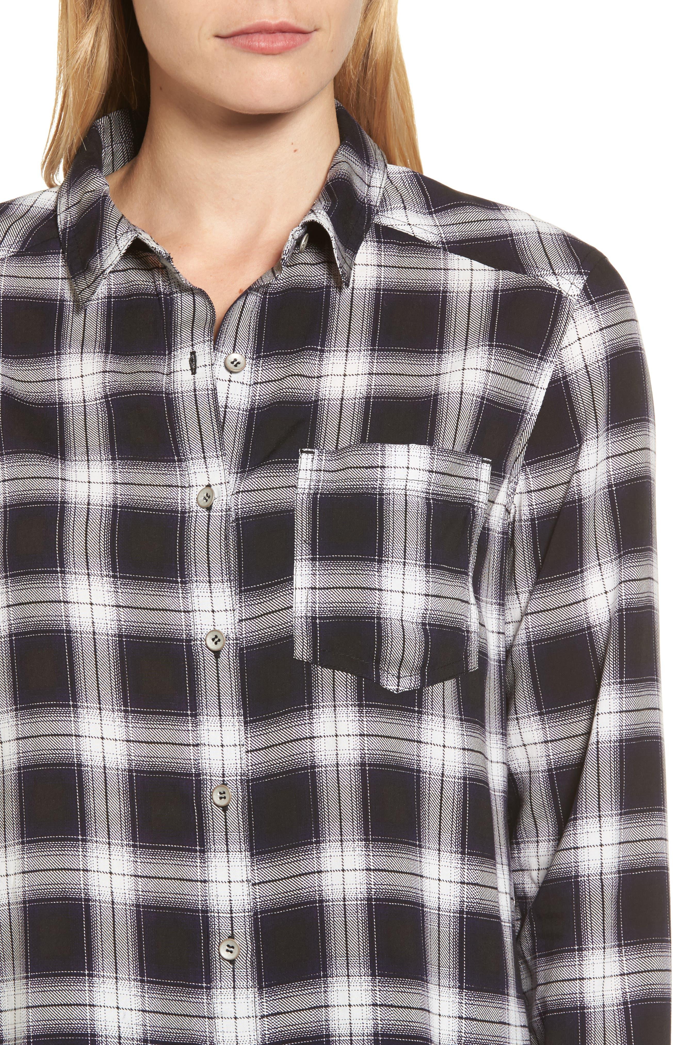 Plaid Shirt,                             Alternate thumbnail 4, color,                             Black- White Plaid