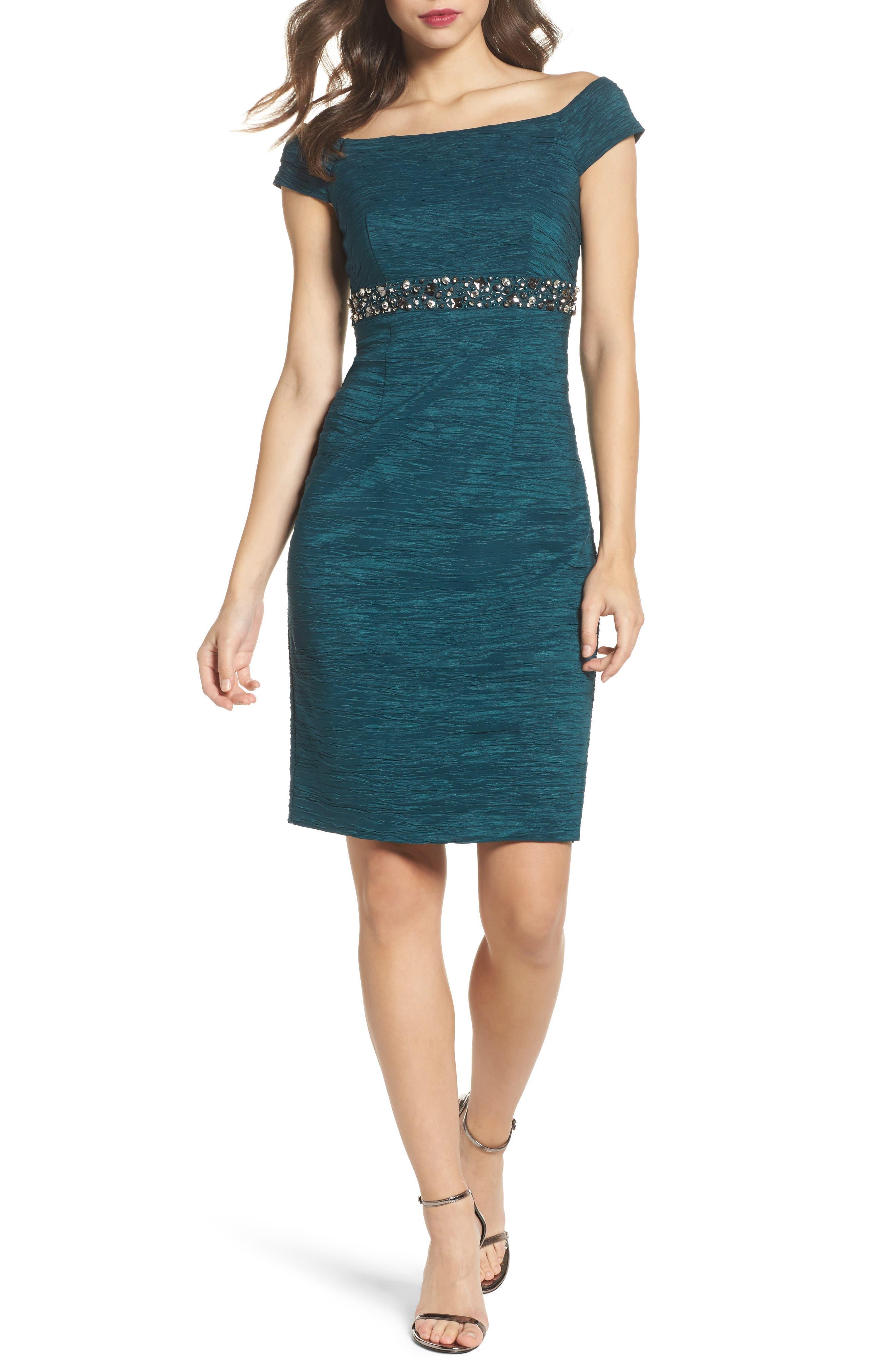 Off the Shoulder Taffeta Dress,                         Main,                         color, Hunter