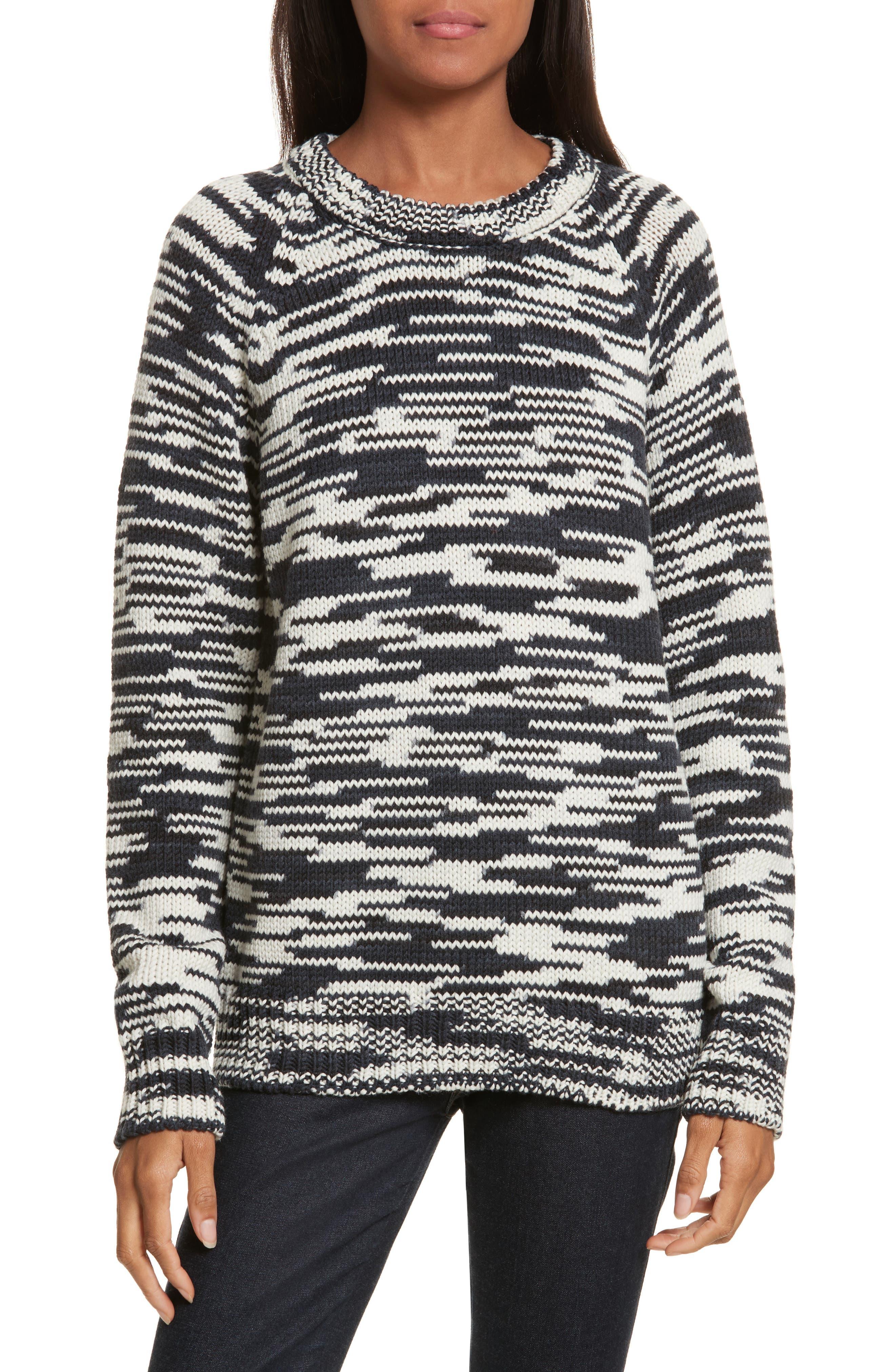 Olivia Merino Wool Sweater,                         Main,                         color, Tory Navy/ New Ivory/ Black