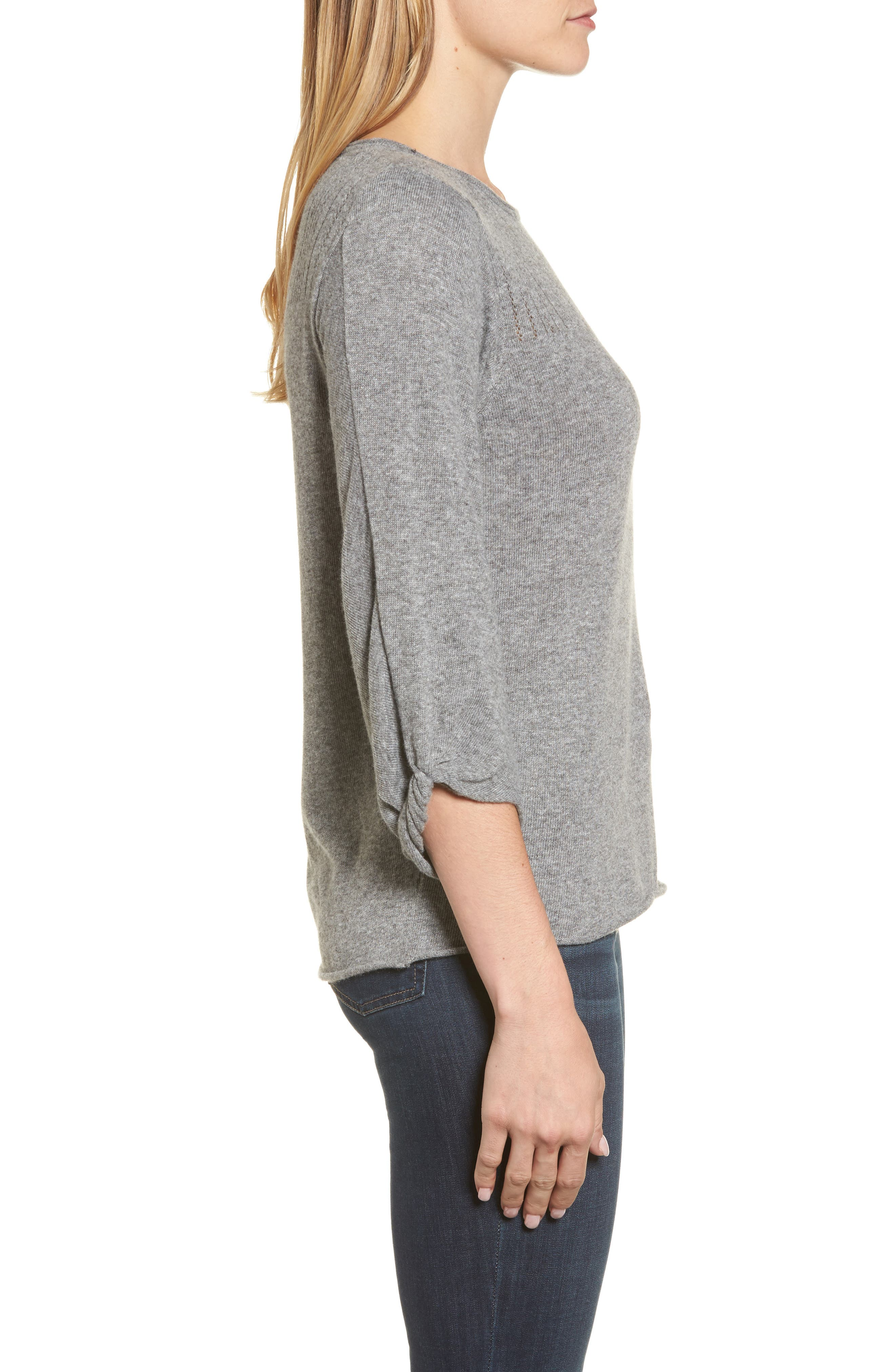 Pointelle Yoke Sweater,                             Alternate thumbnail 3, color,                             Heather Grey