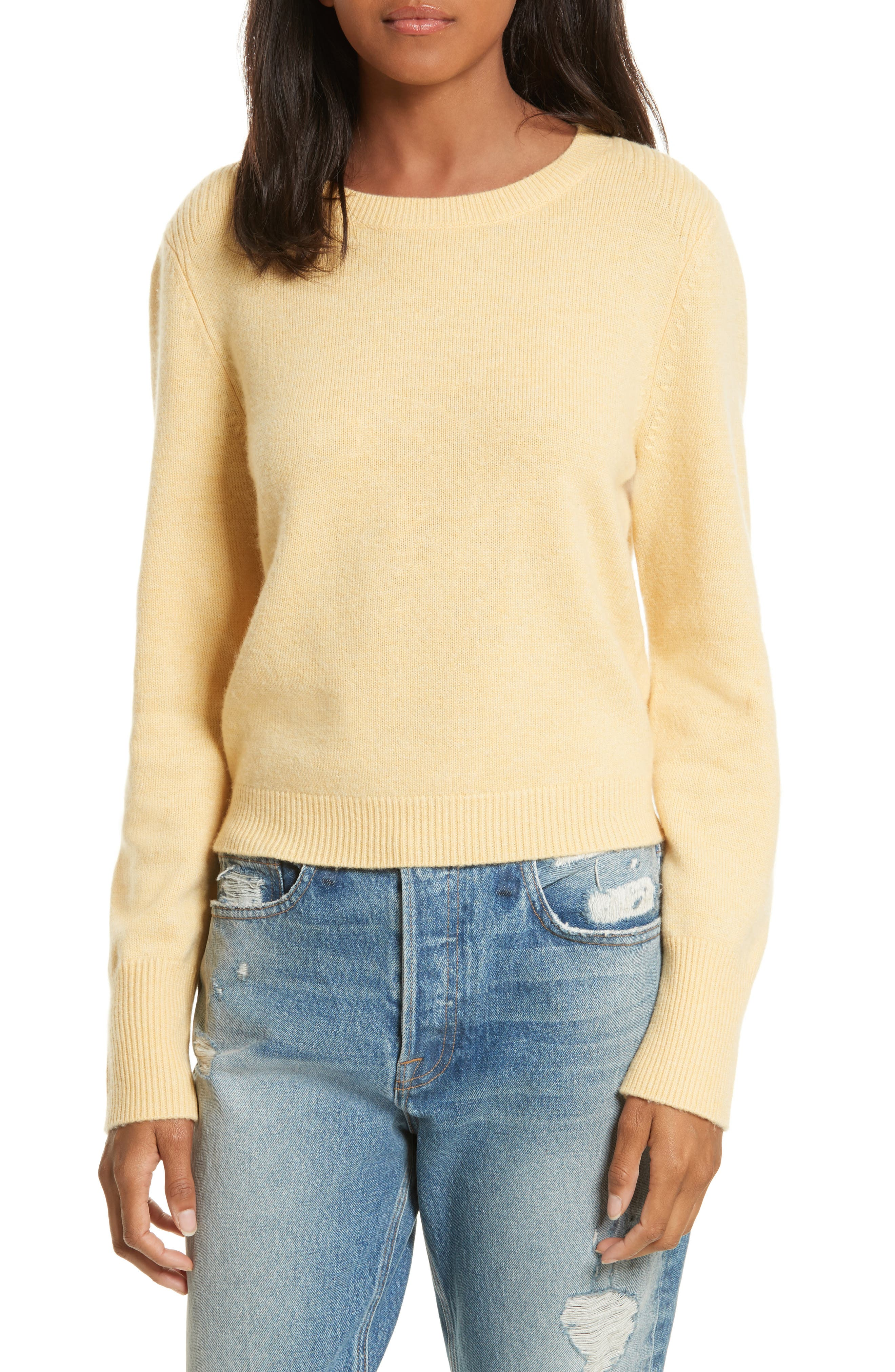 Wool & Cashmere Sweater,                         Main,                         color, Light Yellow