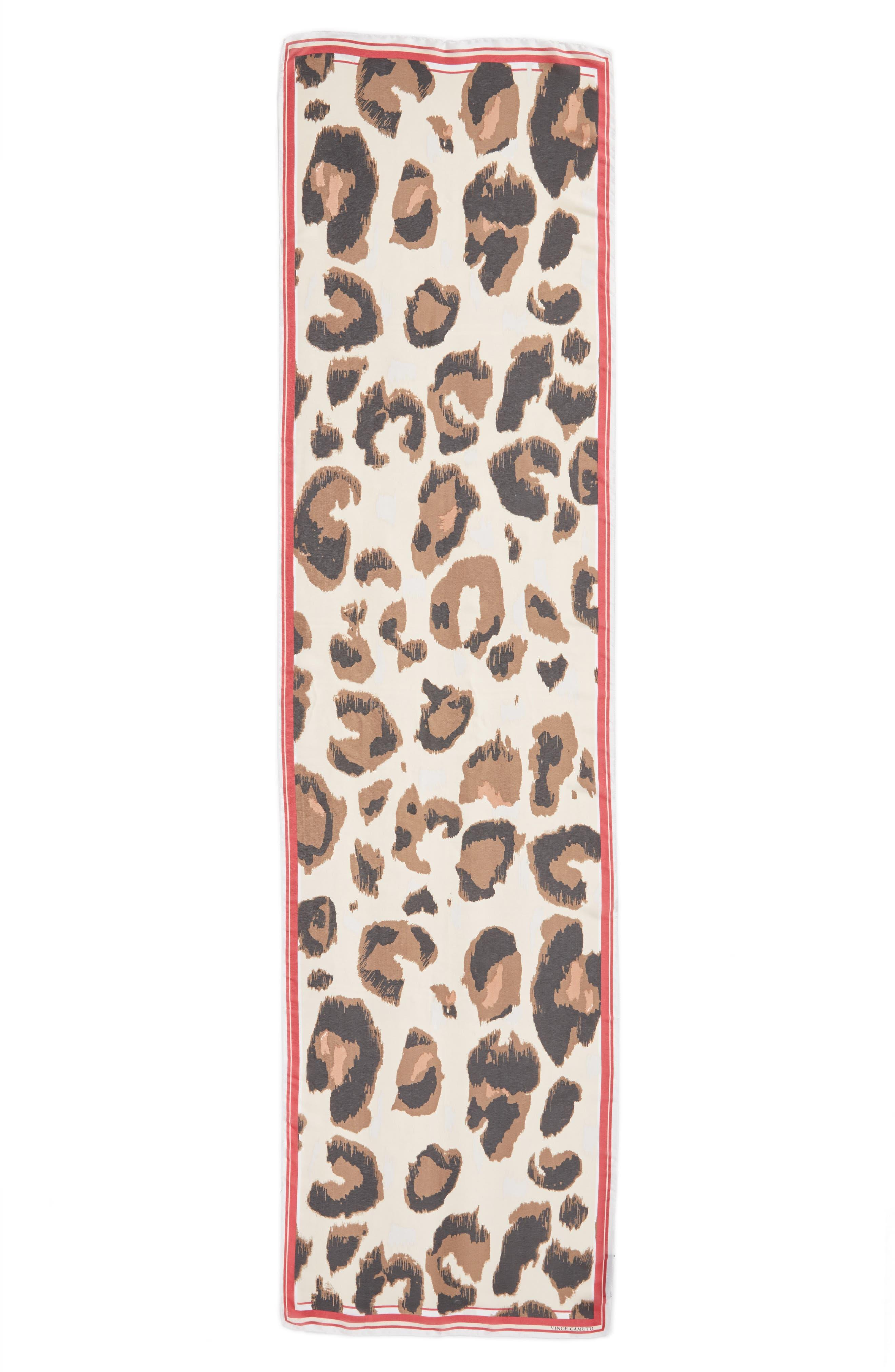 Leopard Print Scarf,                             Alternate thumbnail 2, color,                             Chili