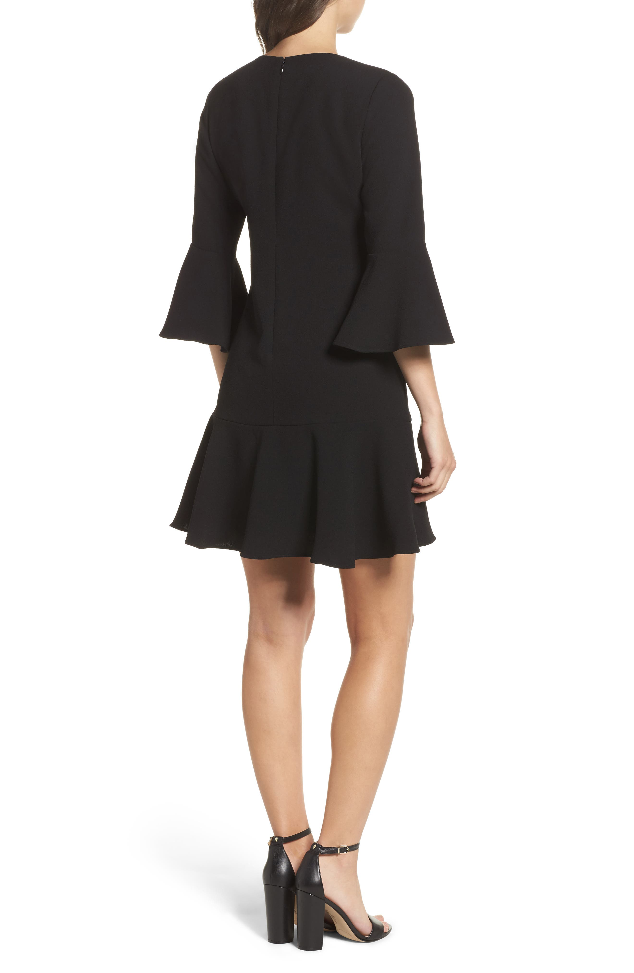 Bell Sleeve Fit & Flare Dress,                             Alternate thumbnail 2, color,                             Black