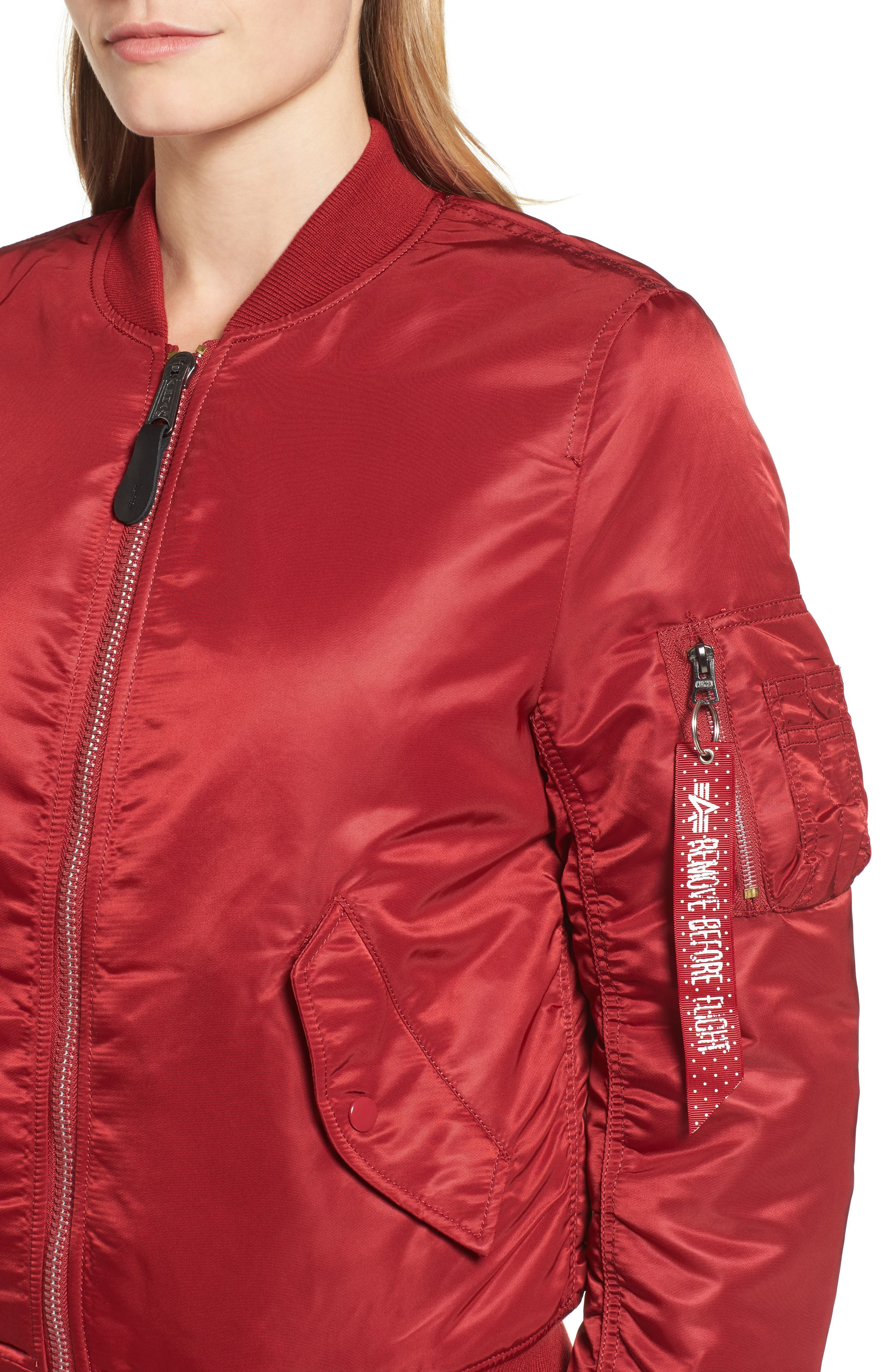 MA-1 W Bomber Jacket,                             Alternate thumbnail 4, color,                             Commander Red