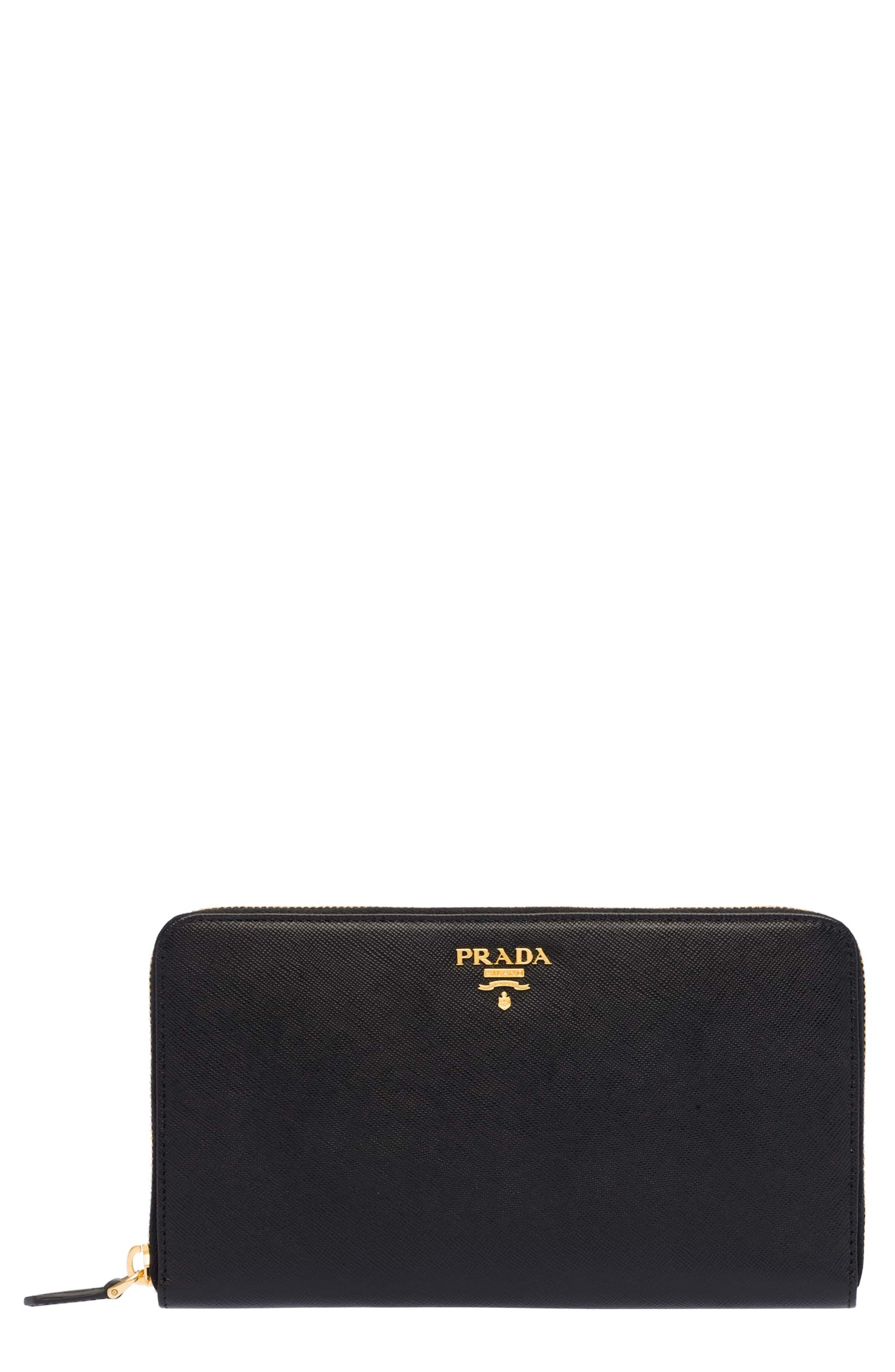 Oro Saffiano Leather Zip Around Wallet,                             Main thumbnail 1, color,                             Nero