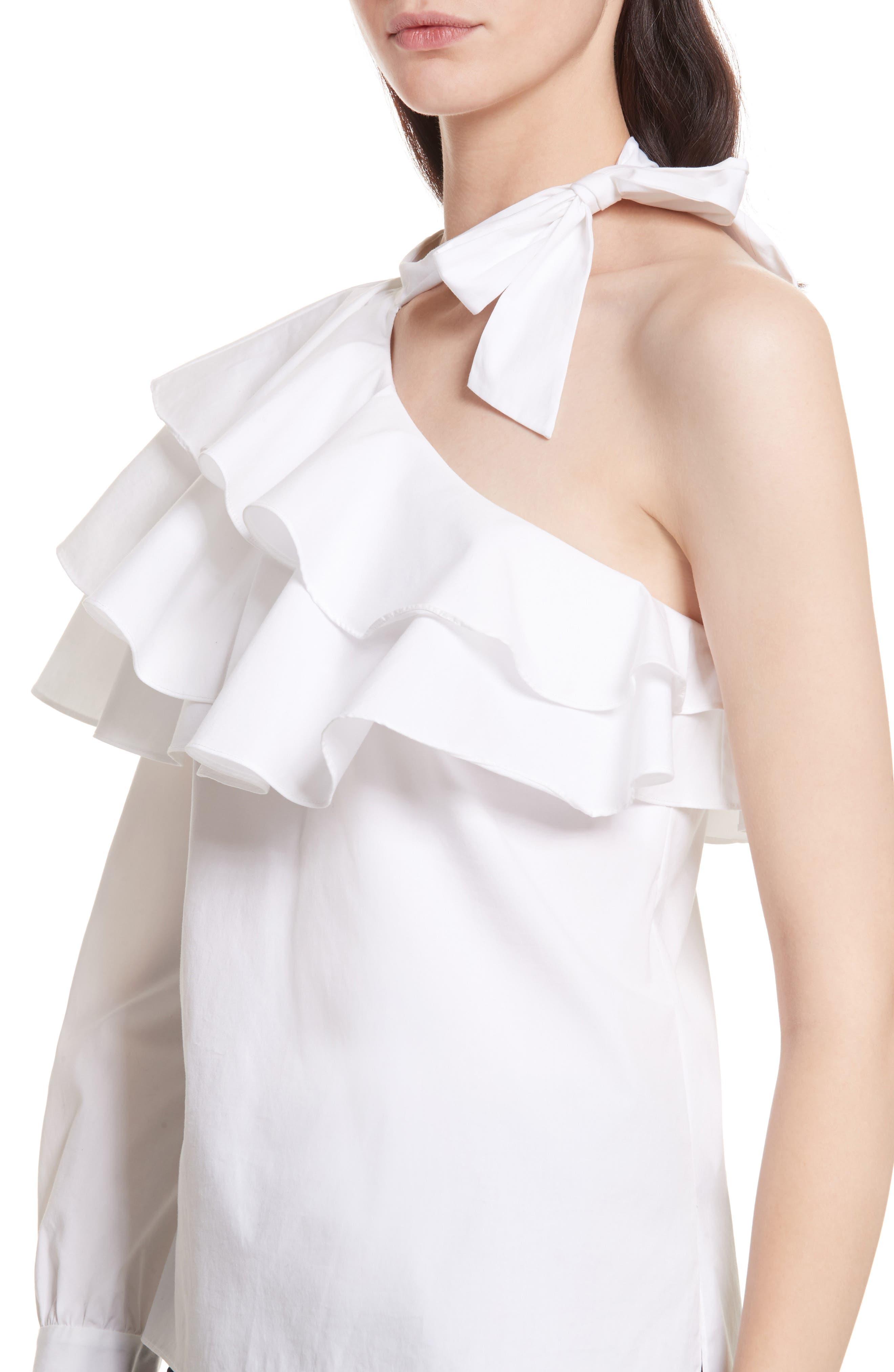 Gigi Ruffle One-Shoulder Top,                             Alternate thumbnail 4, color,                             White