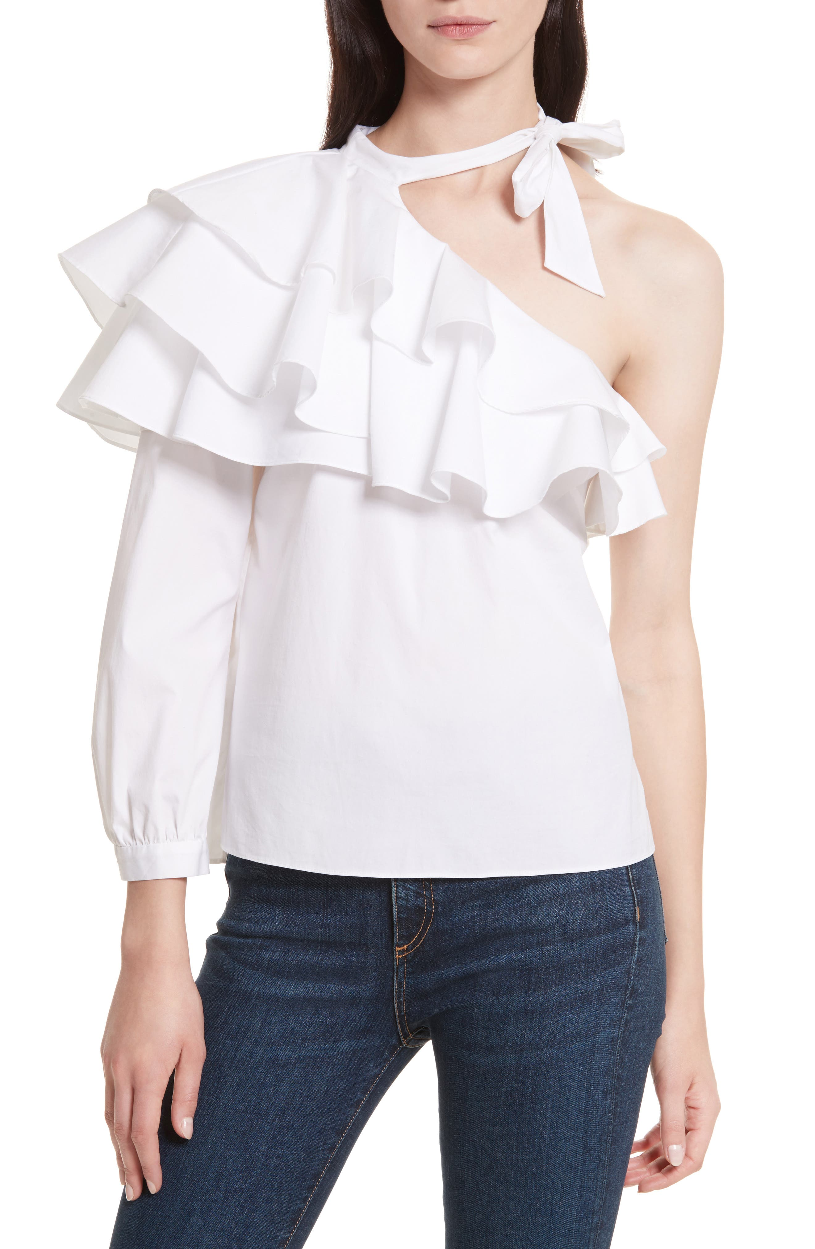 Gigi Ruffle One-Shoulder Top,                         Main,                         color, White
