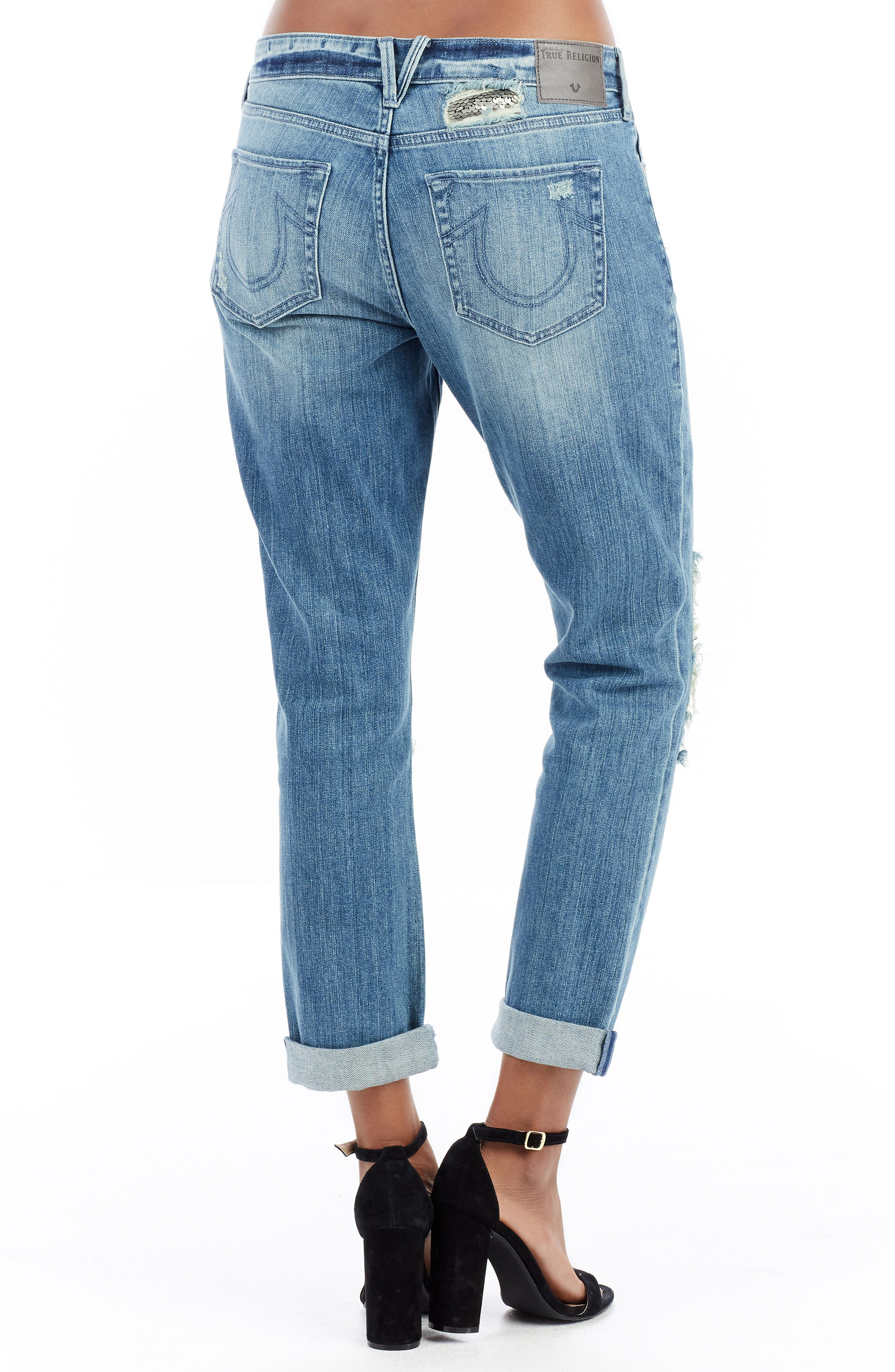Cameron Slim Boyfriend Jeans,                             Alternate thumbnail 3, color,                             Dark Rebel Shadow