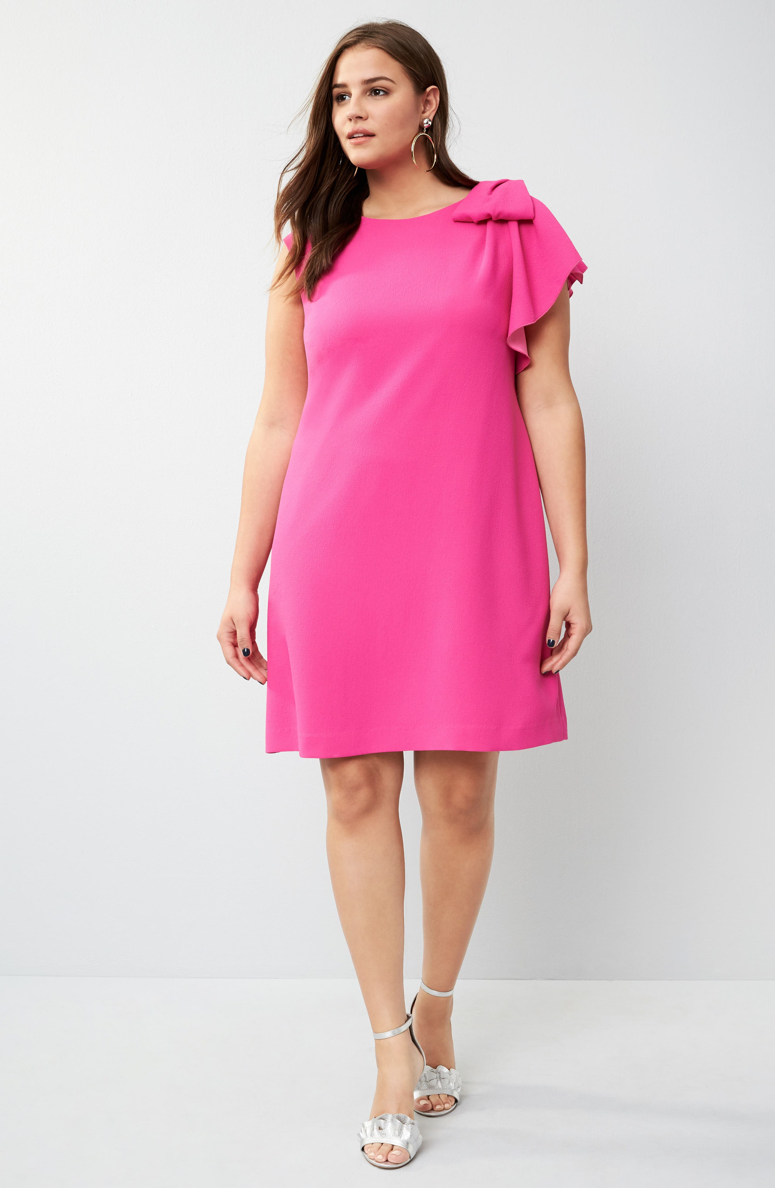 Alternate Image 2  - Eliza J Shoulder Bow Shift Dress (Plus Size)