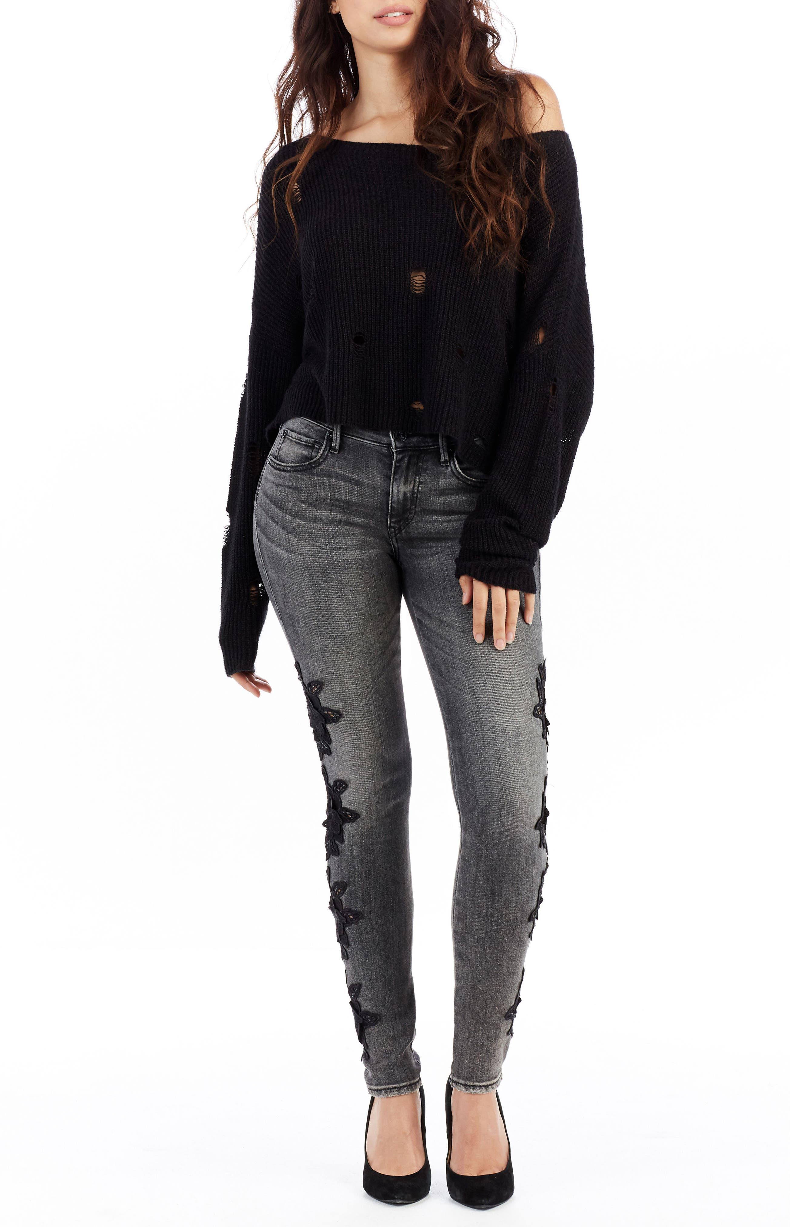 Jennie Curvy Skinny Jeans,                             Alternate thumbnail 3, color,                             Rhodium