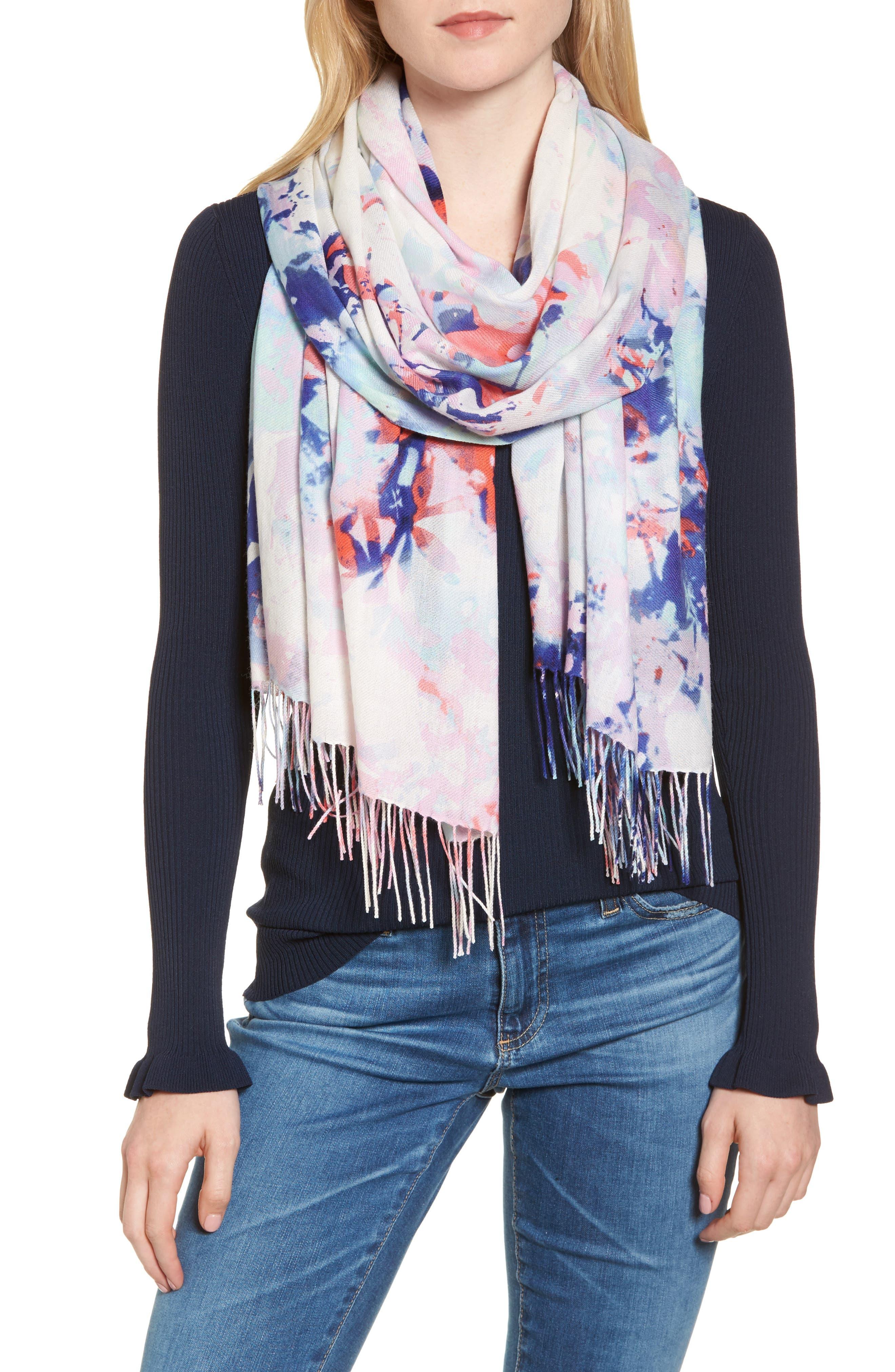 Tissue Print Wool & Cashmere Wrap Scarf,                         Main,                         color, Blue Hidden Floral