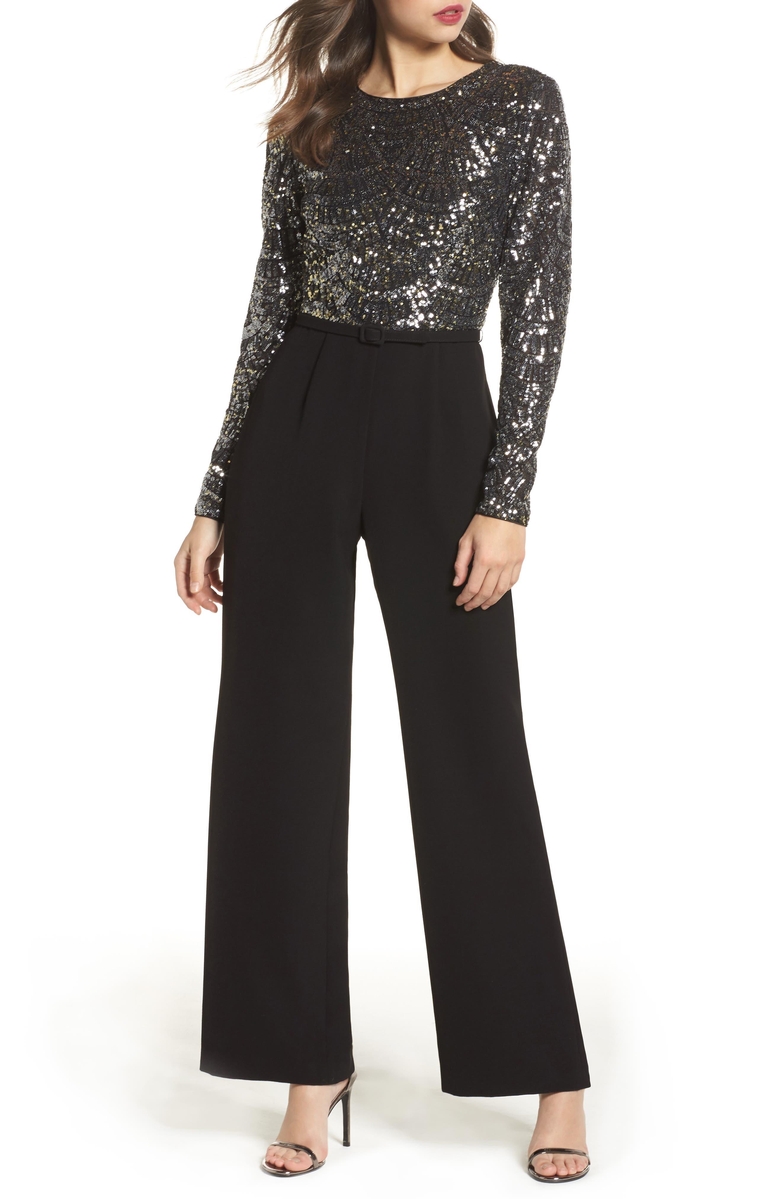 Belted Sequin & Crepe Jumpsuit,                         Main,                         color, Black Silver