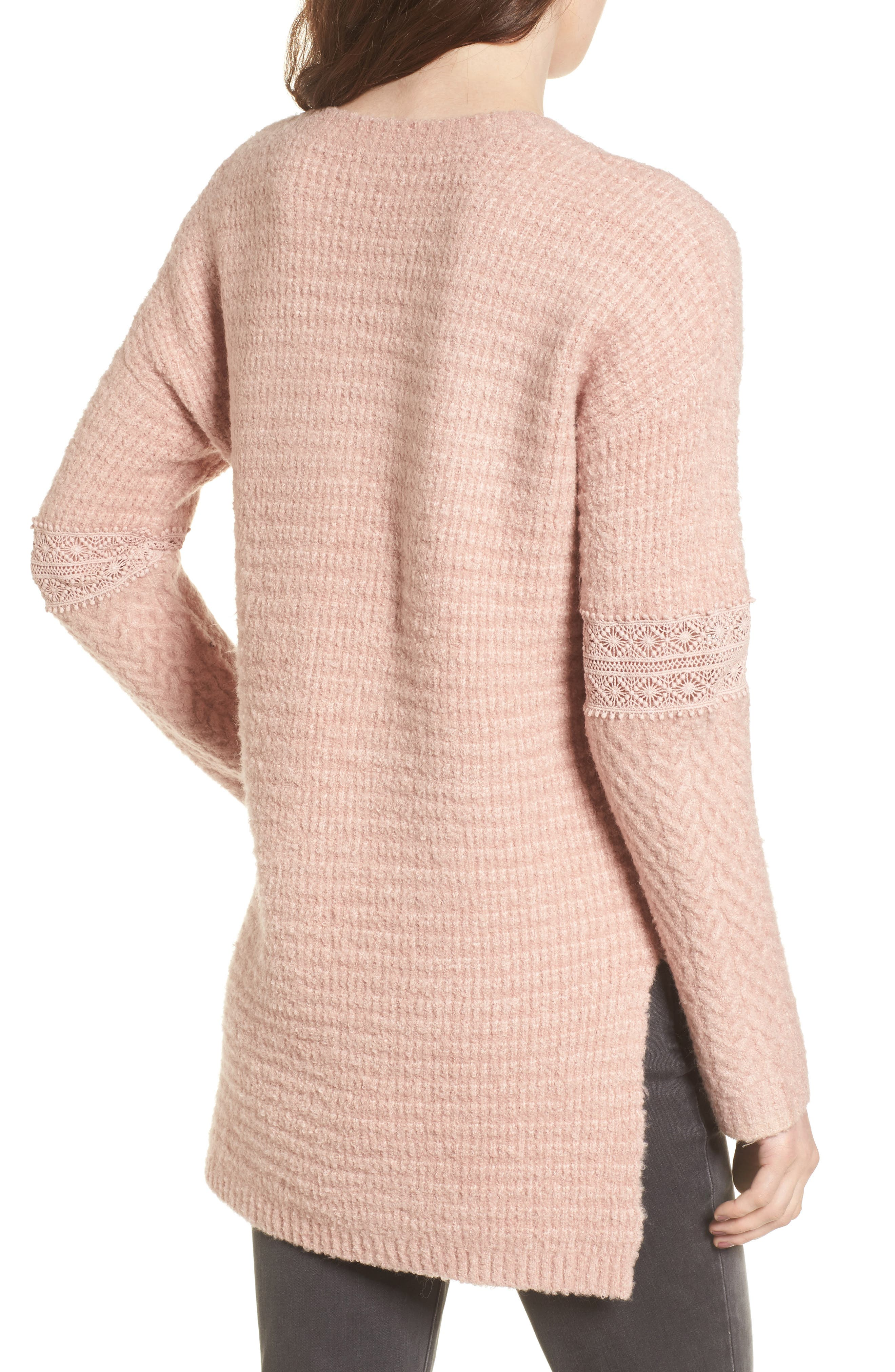 Lace Inset V-Neck Sweater,                             Alternate thumbnail 2, color,                             Pink Adobe