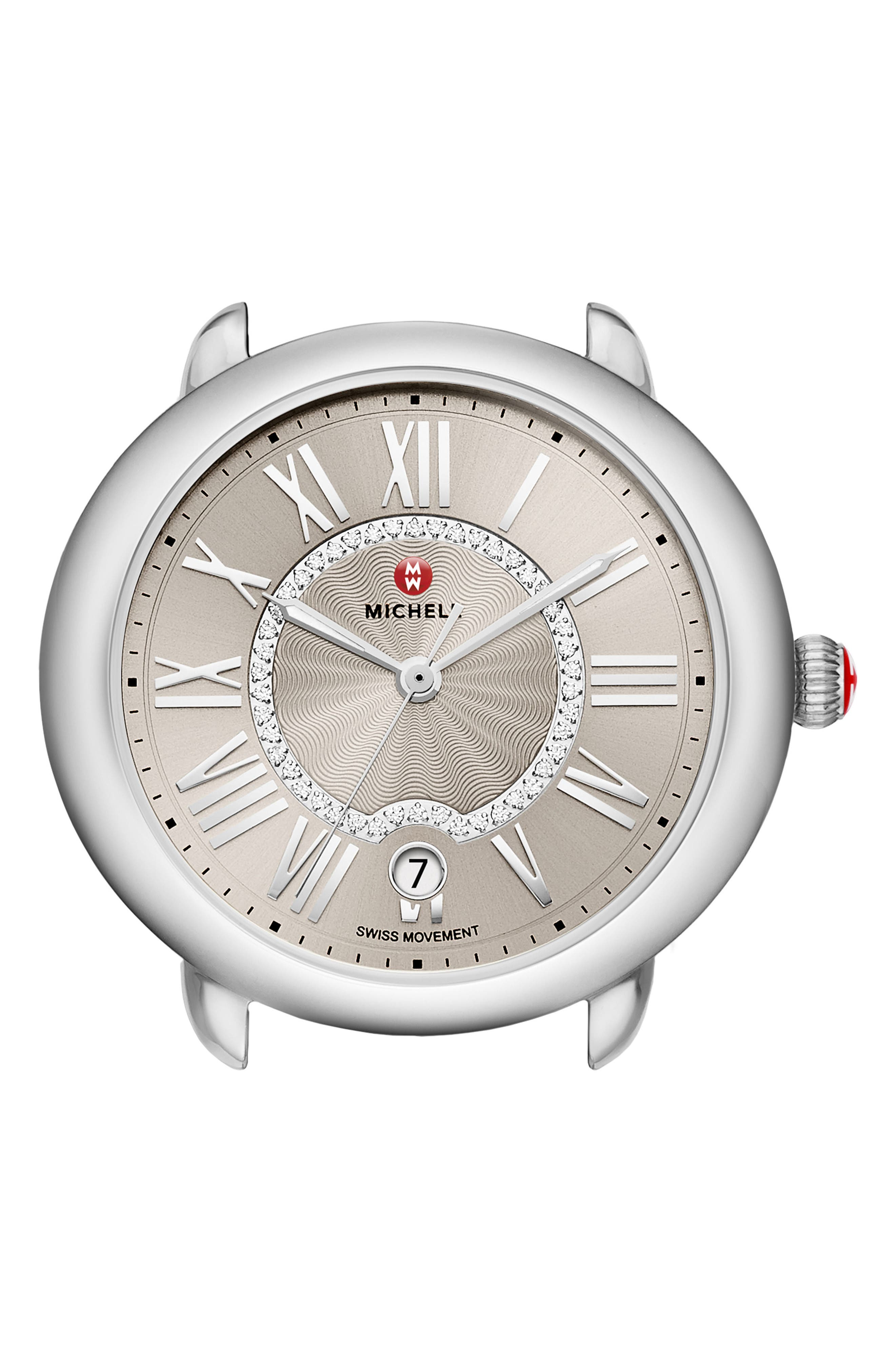 Serein Diamond Dial Watch Case, 36mm x 34mm,                         Main,                         color, Silver/ Cashmere/ Silver