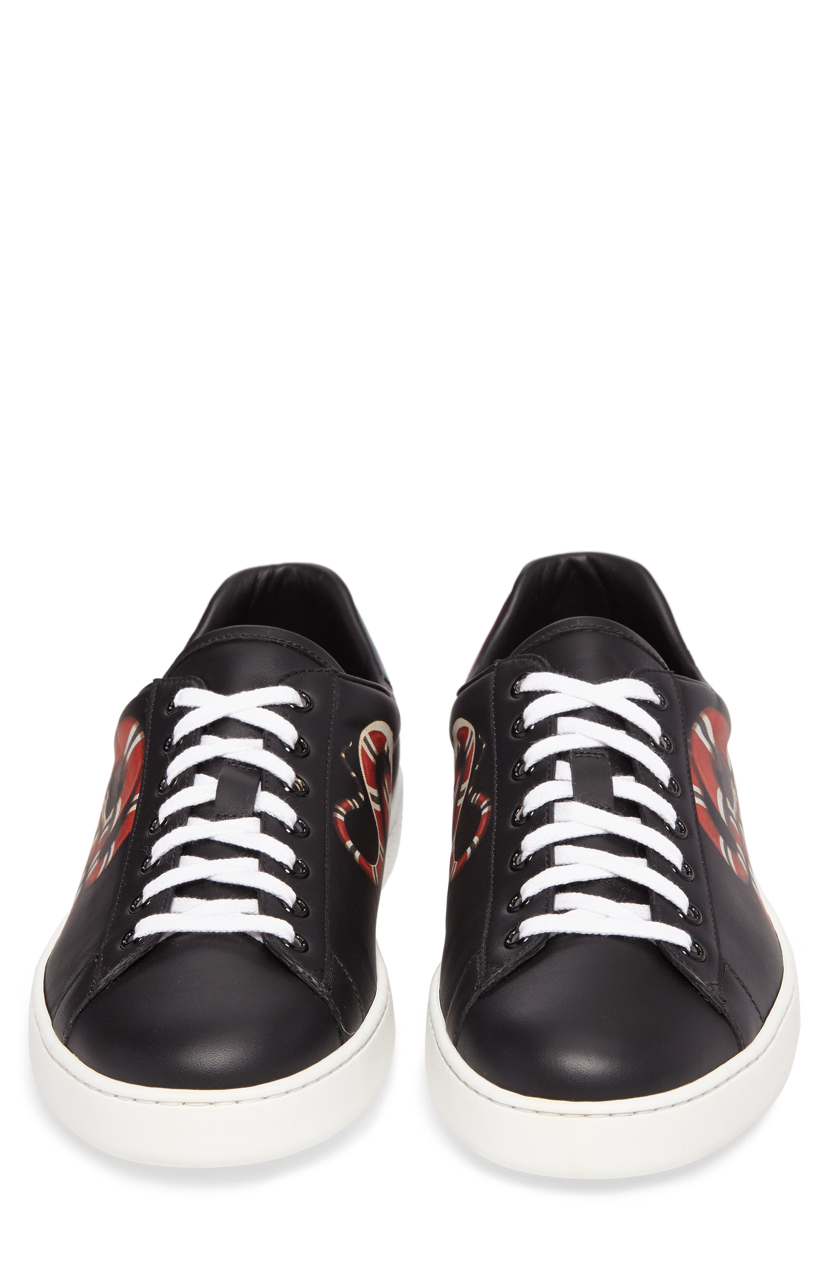 New Ace Snake Loop Sneaker,                             Alternate thumbnail 4, color,                             Black