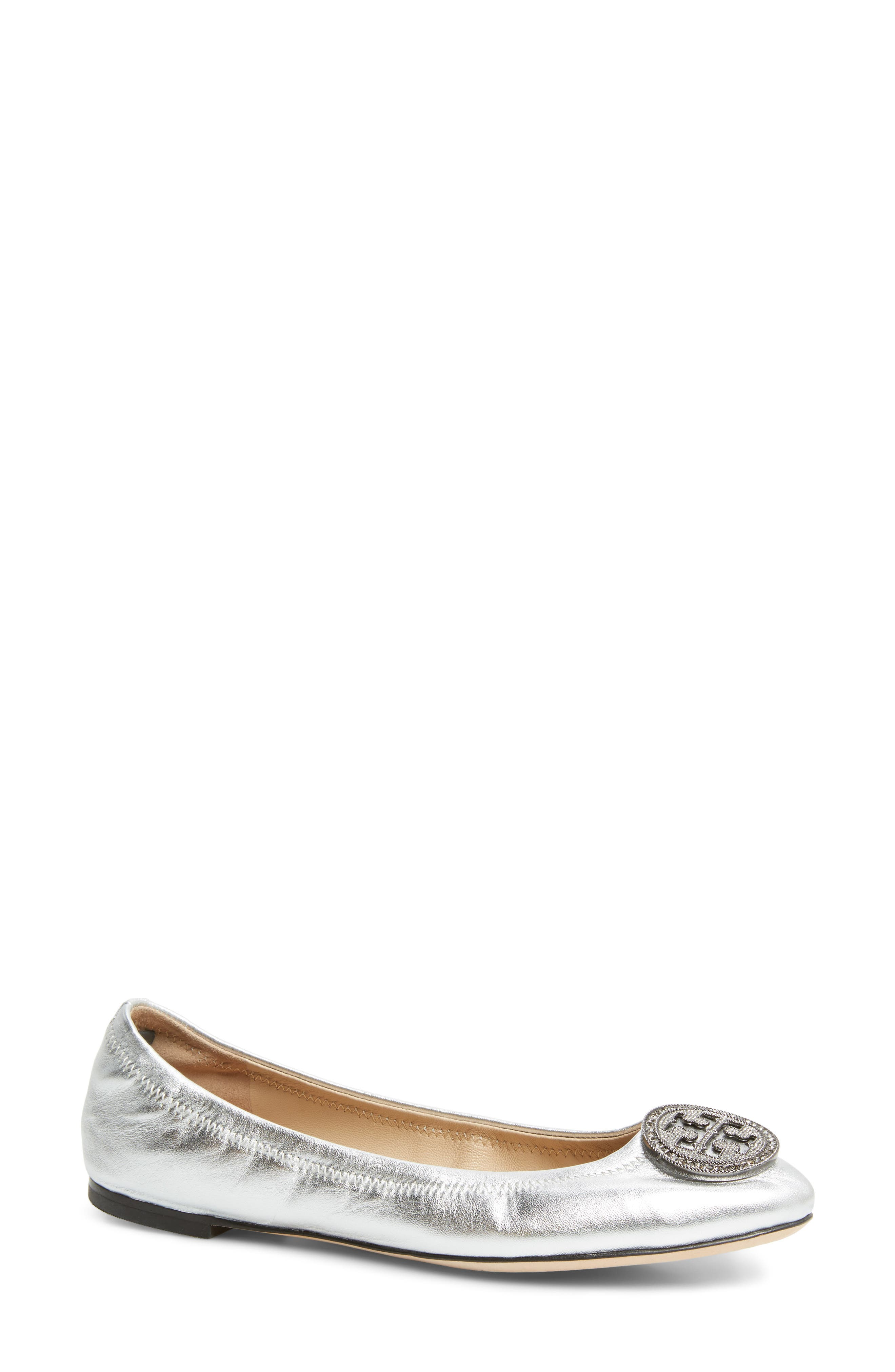 Liana Ballet Flat,                         Main,                         color, Silver
