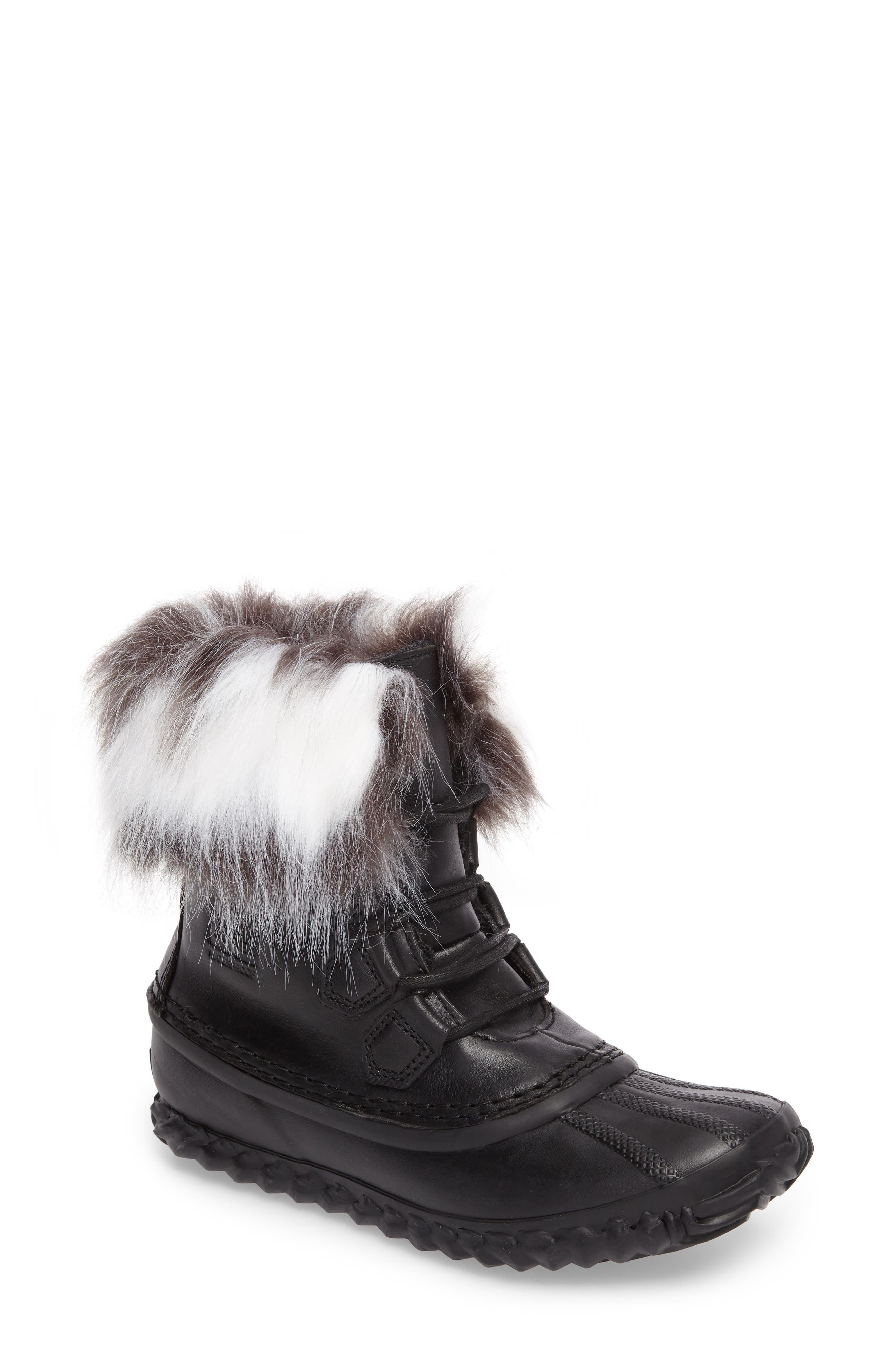 Out 'N About Waterproof Luxe Bootie,                             Main thumbnail 1, color,                             Black/ Sea Salt