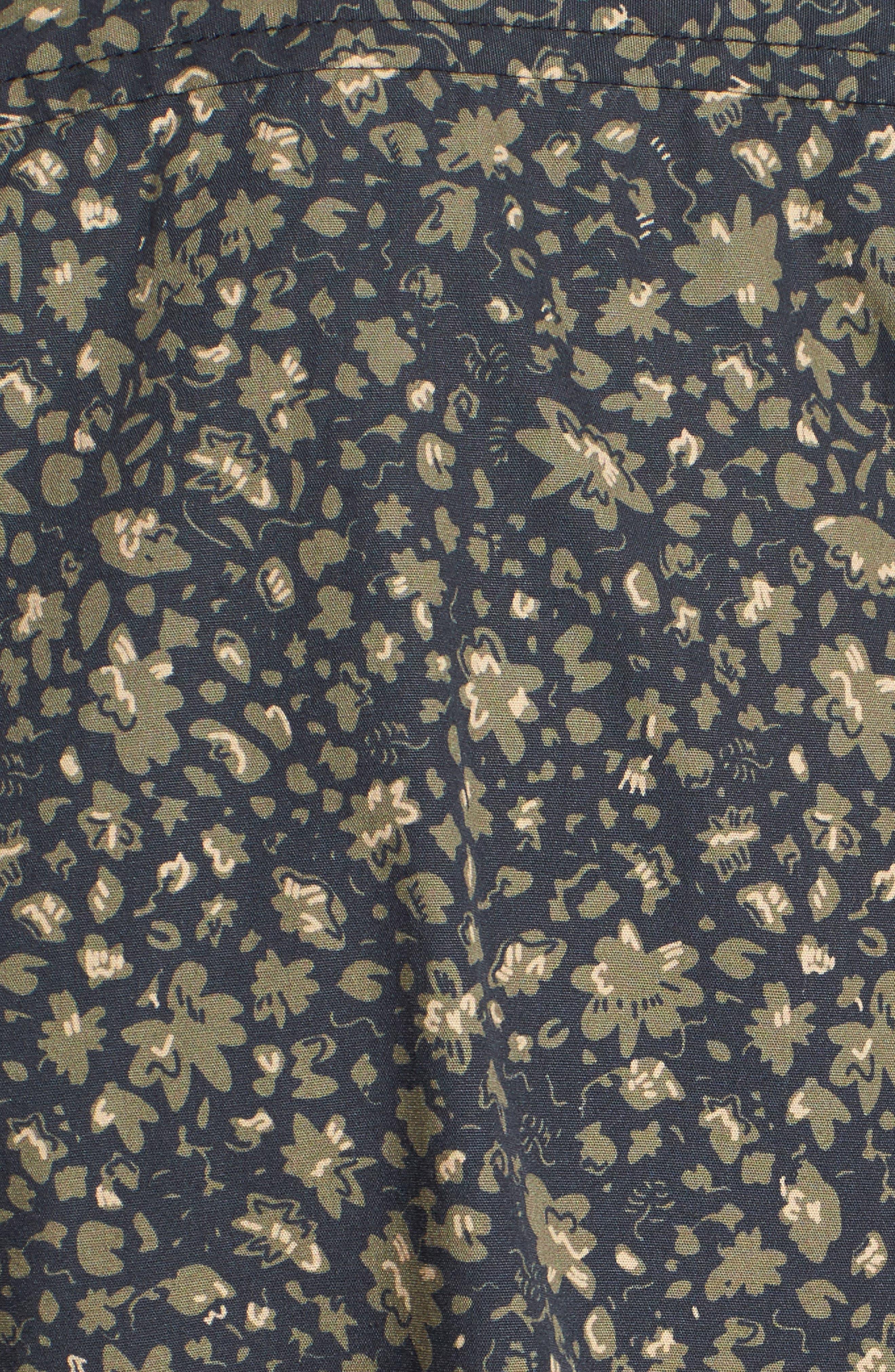 Nash Slim Fit Print Sport Shirt,                             Alternate thumbnail 5, color,                             Floral Camo Black/ Ivy