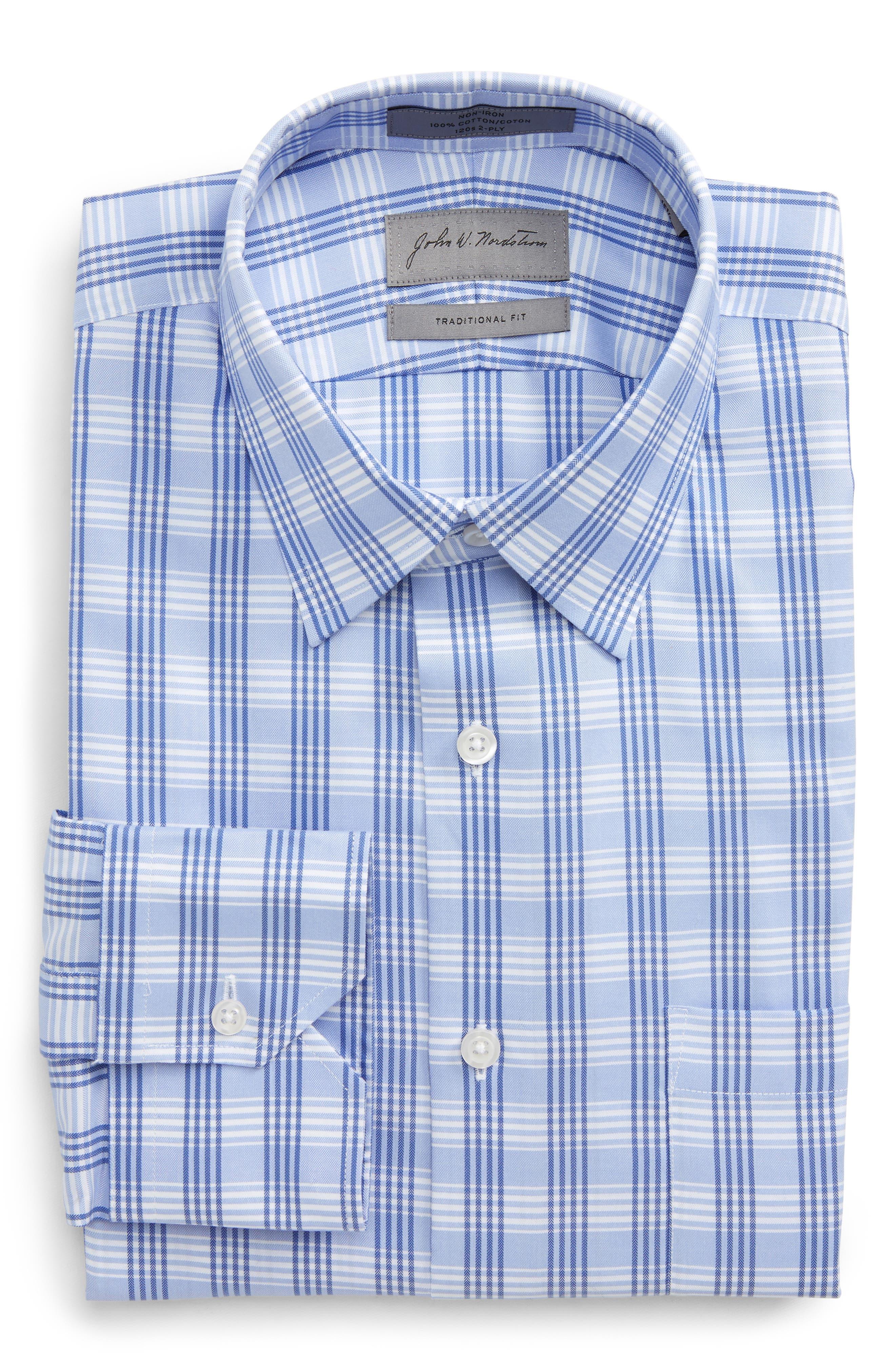 Traditional Fit No-Iron Check Dress Shirt,                         Main,                         color, Blue Grapemist