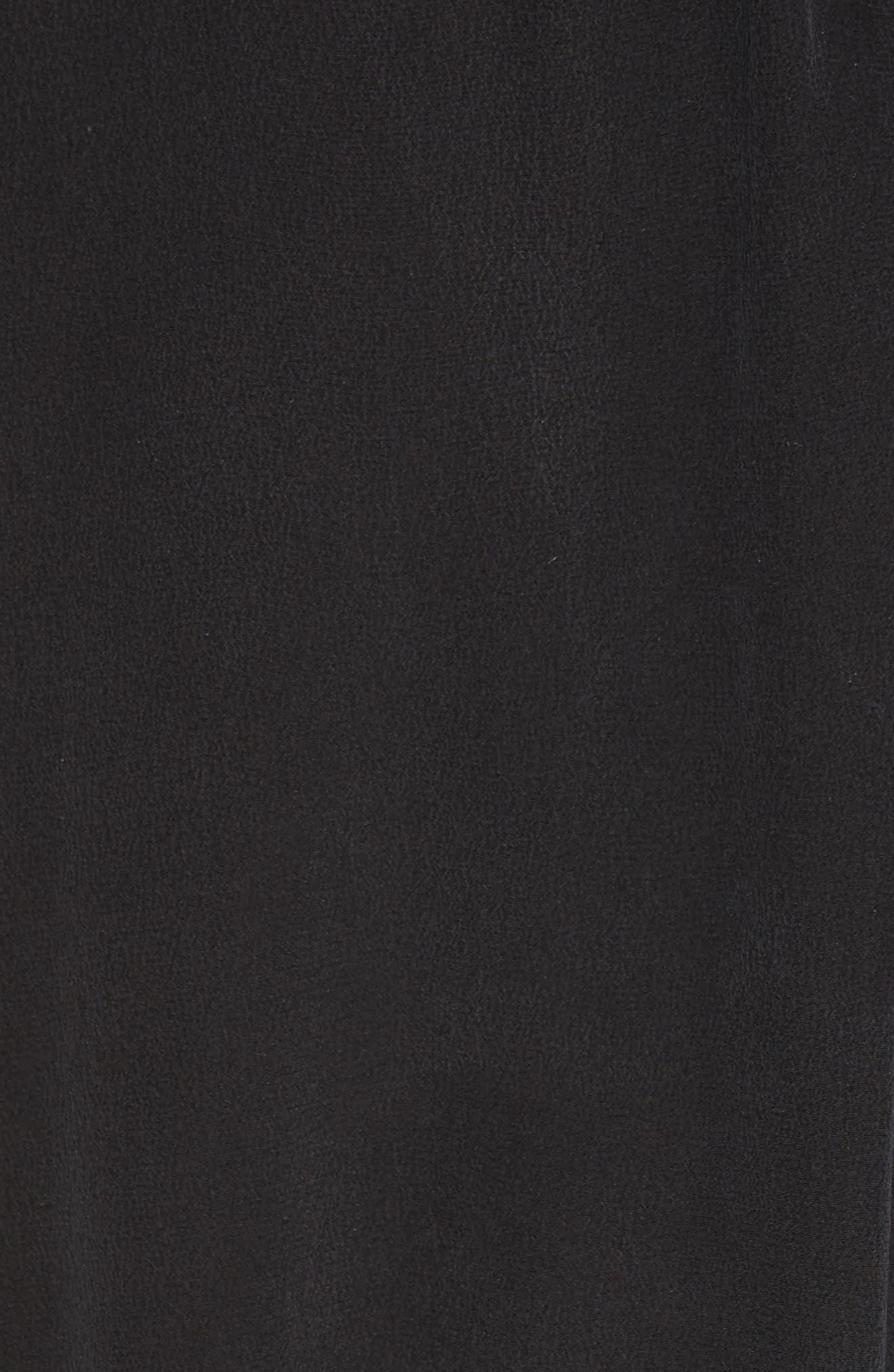 Shirred Sleeve Silk Dress,                             Alternate thumbnail 5, color,                             Black