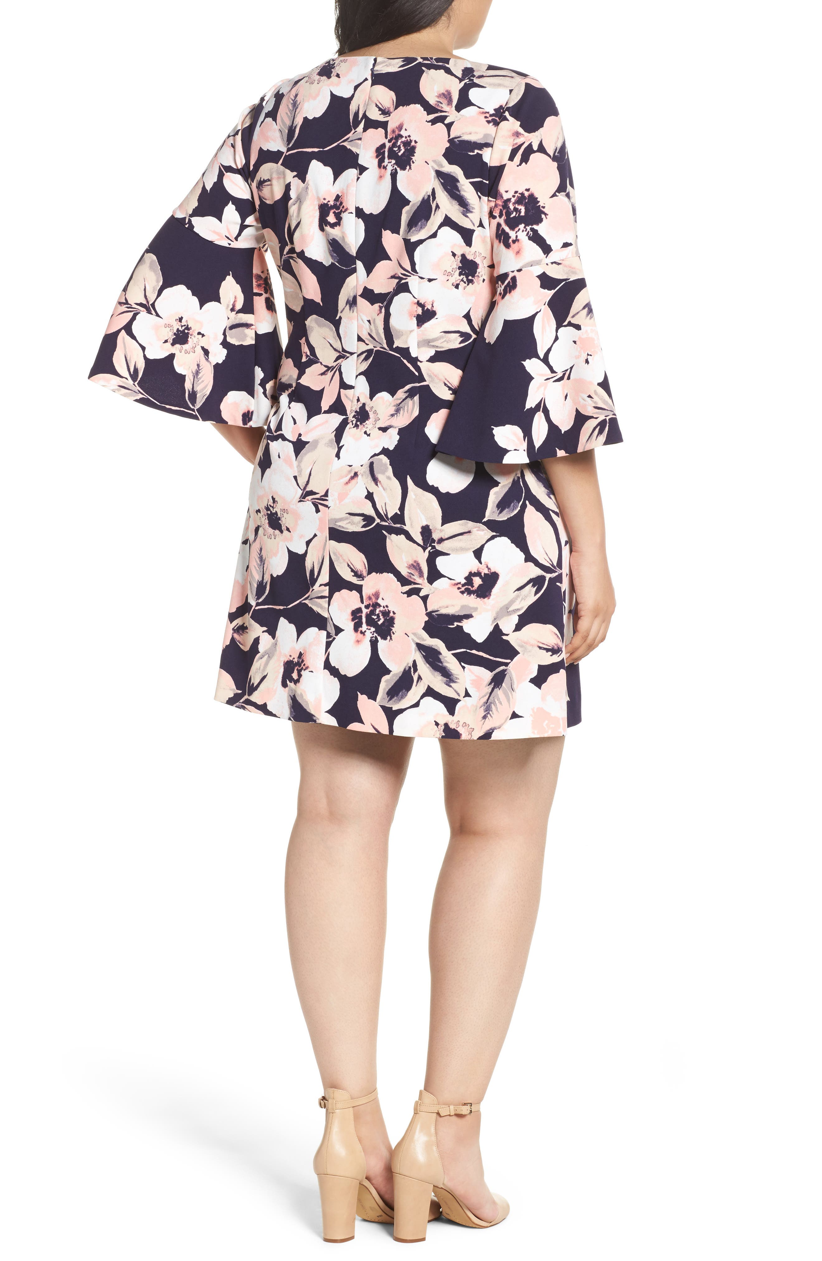 Bell Cuff Floral Shift Dress,                             Alternate thumbnail 3, color,                             Navy