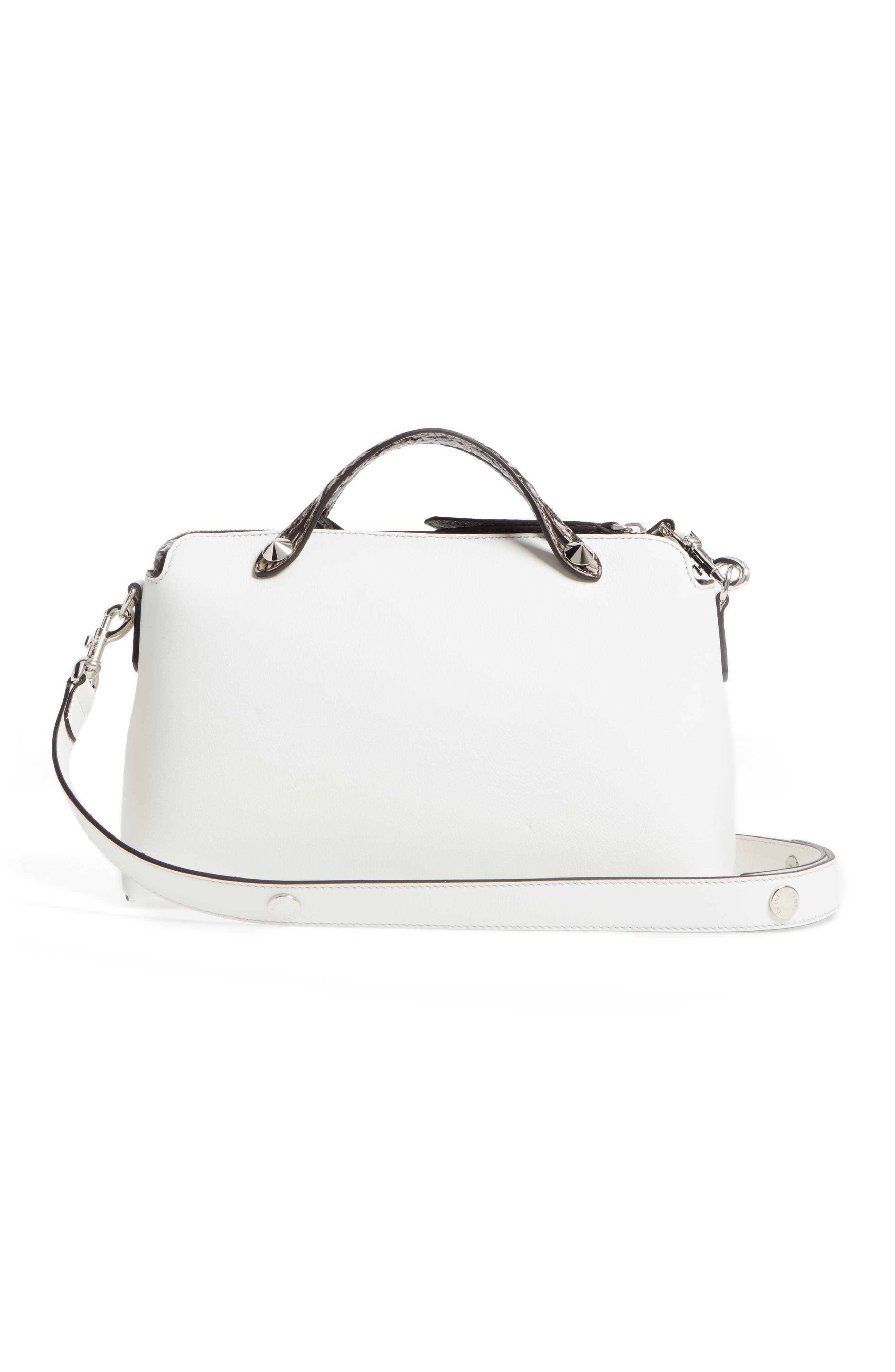 'Medium By the Way' Calfskin Leather Shoulder Bag with Genuine Snakeskin Trim,                             Alternate thumbnail 3, color,                             Ice