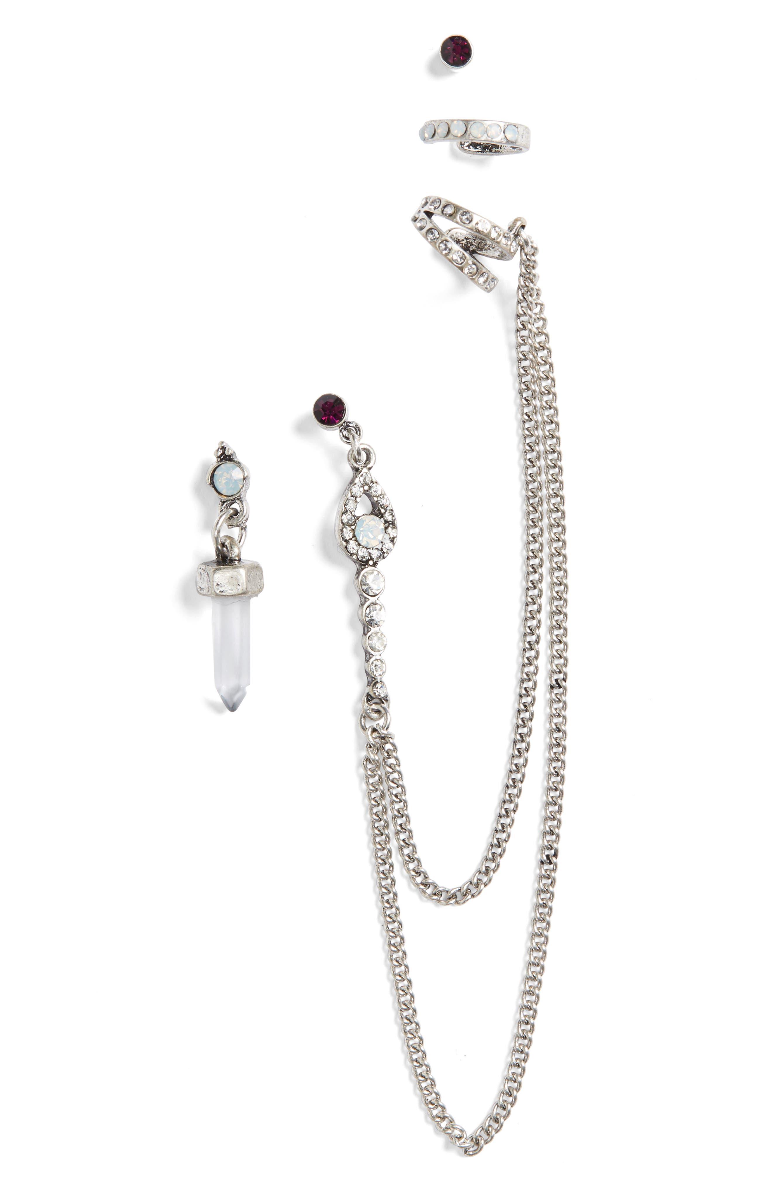 Moonstone Earring Set,                         Main,                         color, Silver Multi