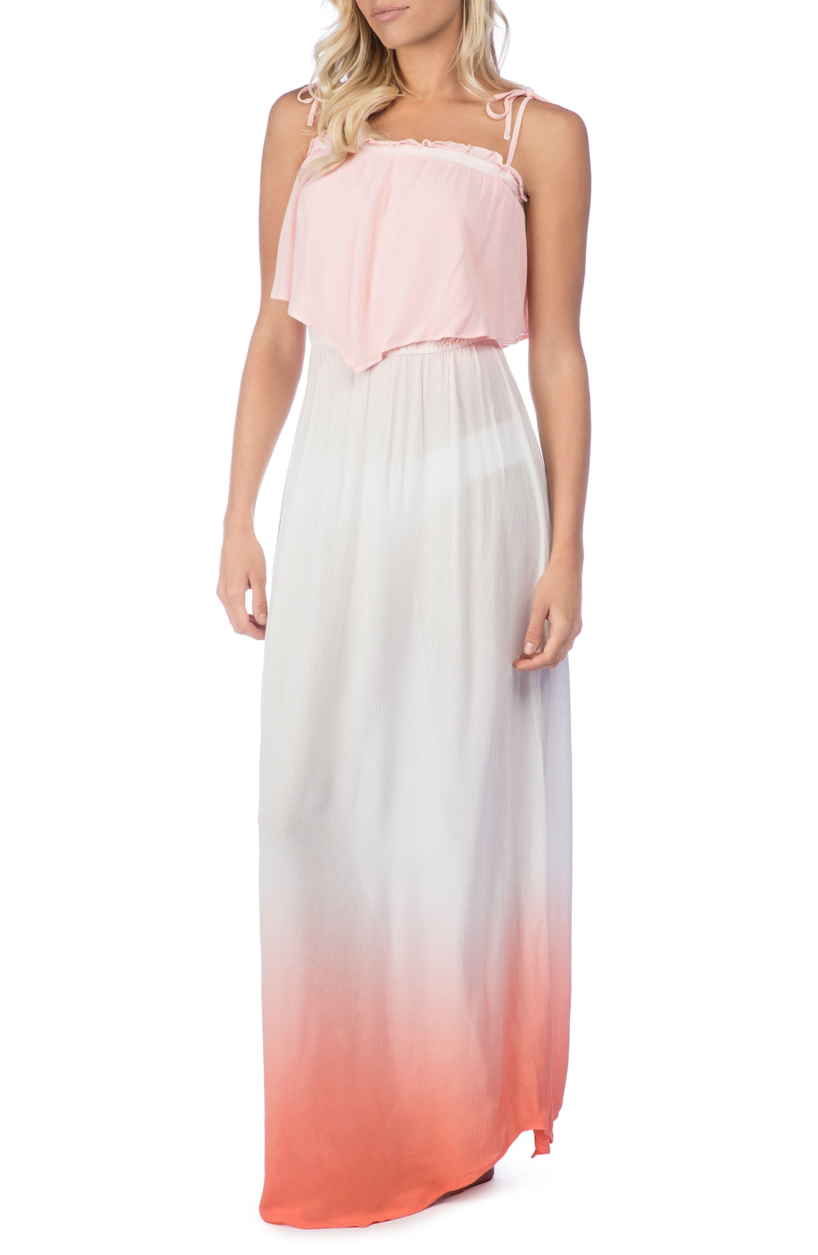 Paloma Dip Dye Cover-Up Maxi Dress,                         Main,                         color, Sunset