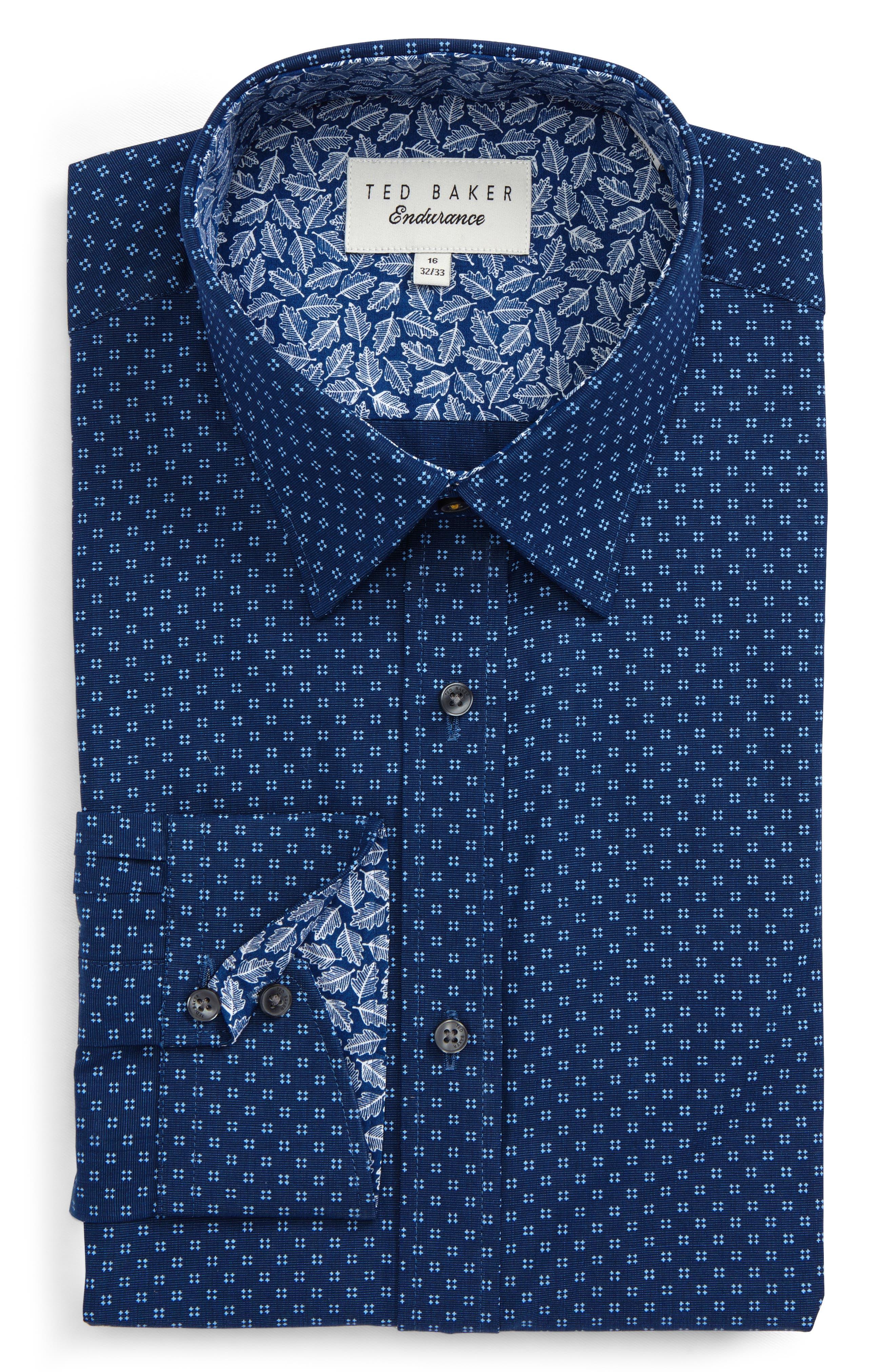 Endurance Trim Fit Geo Print Dress Shirt,                         Main,                         color, Navy