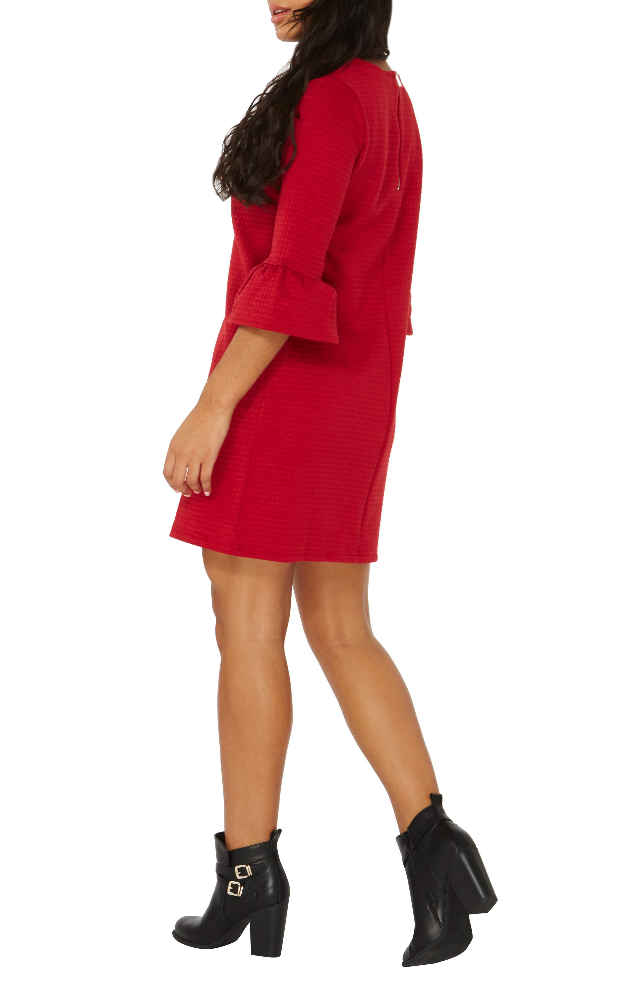 Ruffle Sleeve Shift Dress,                             Alternate thumbnail 2, color,                             Red