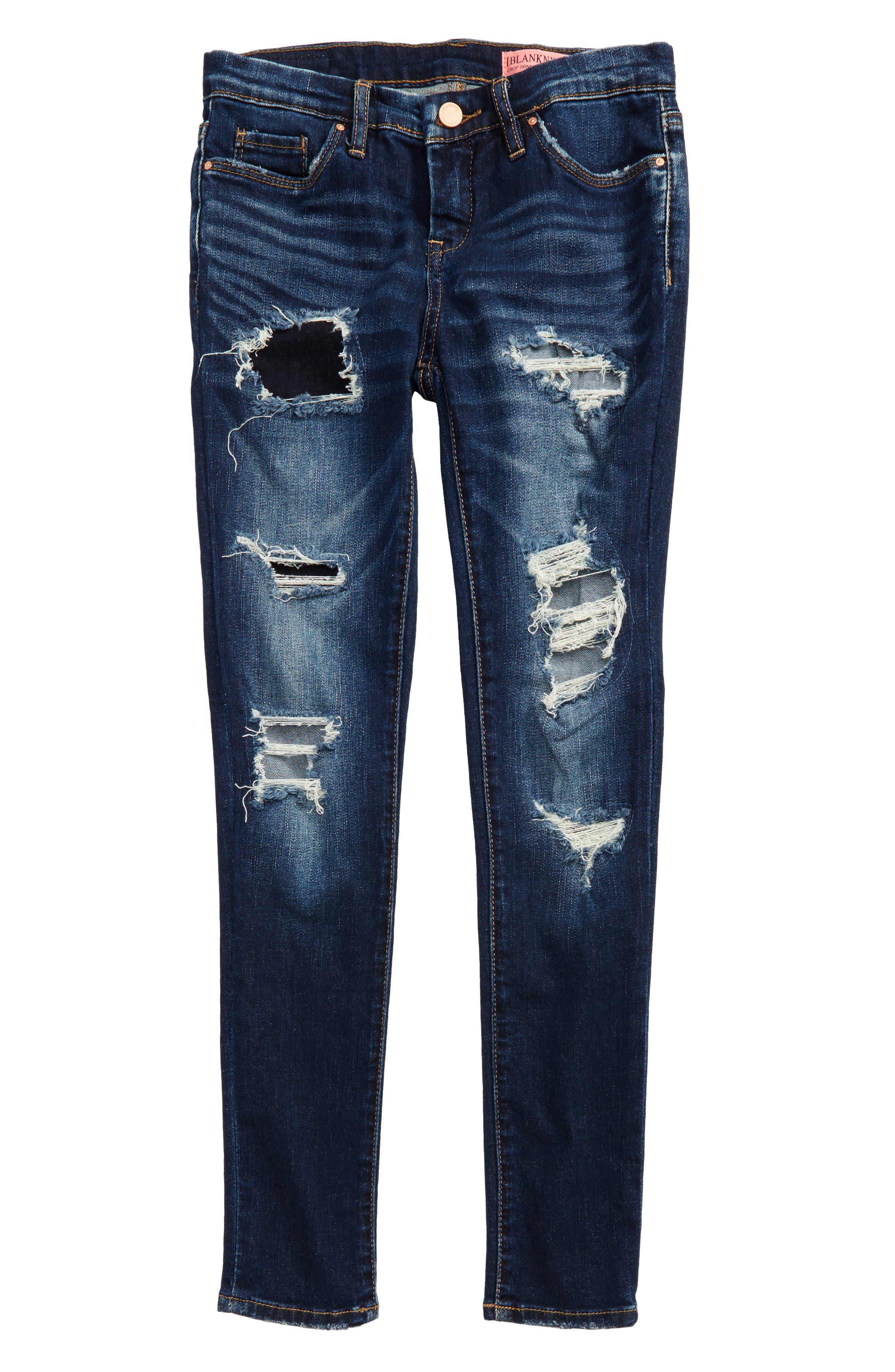 Main Image - BLANKNYC Rip & Repair Skinny Jeans (Big Girls)