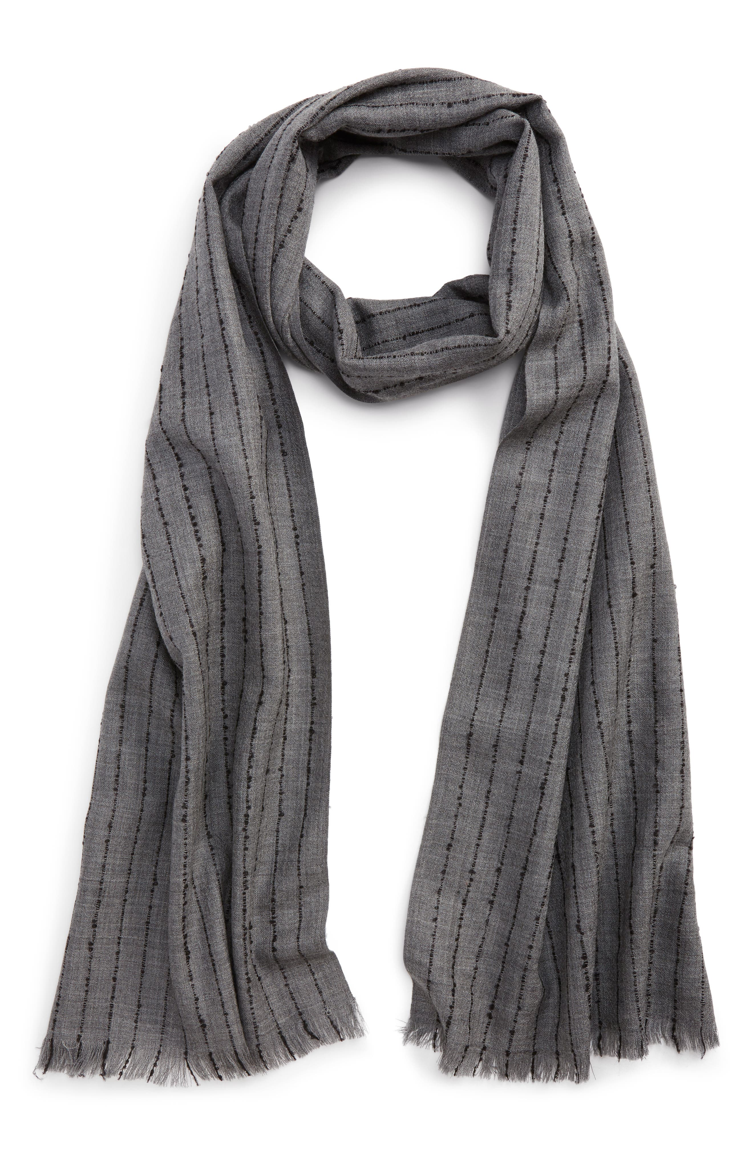 Pinstripe Double Face Merino Wool Scarf,                         Main,                         color, Silver Grey