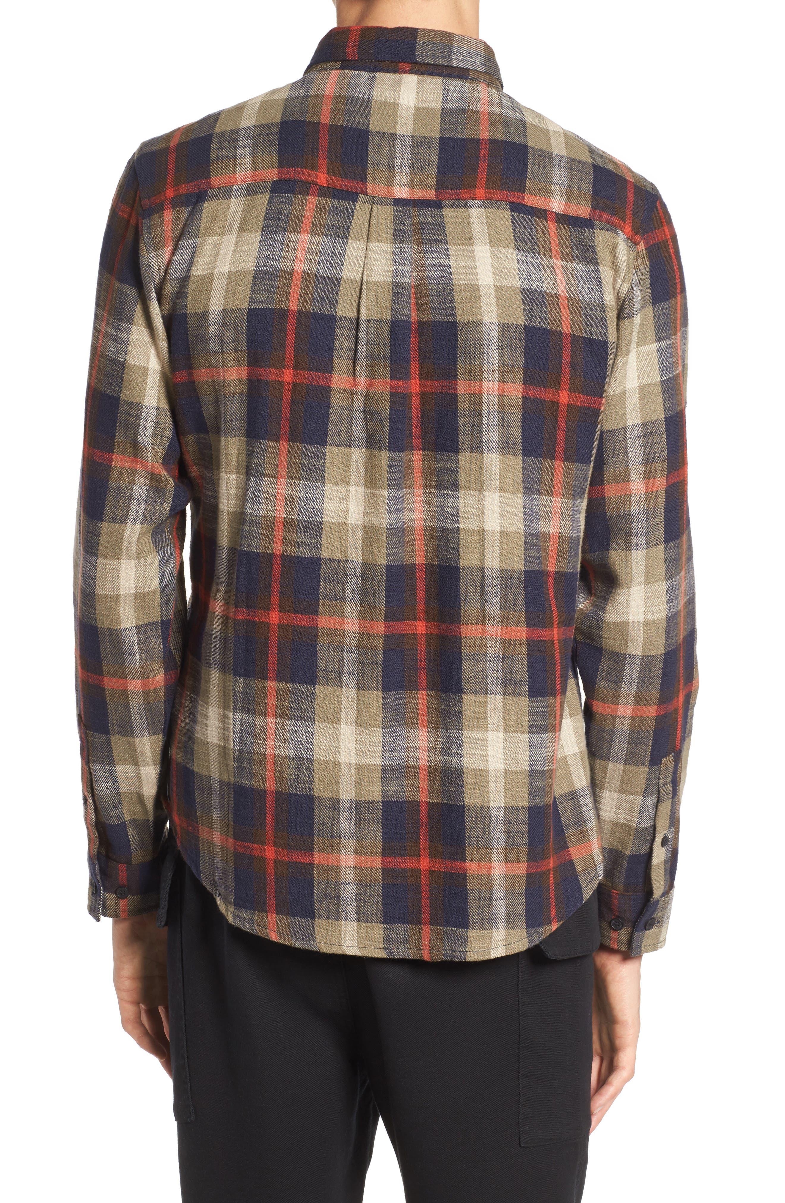 Brae Plaid Flannel Shirt,                             Alternate thumbnail 2, color,                             Green Check