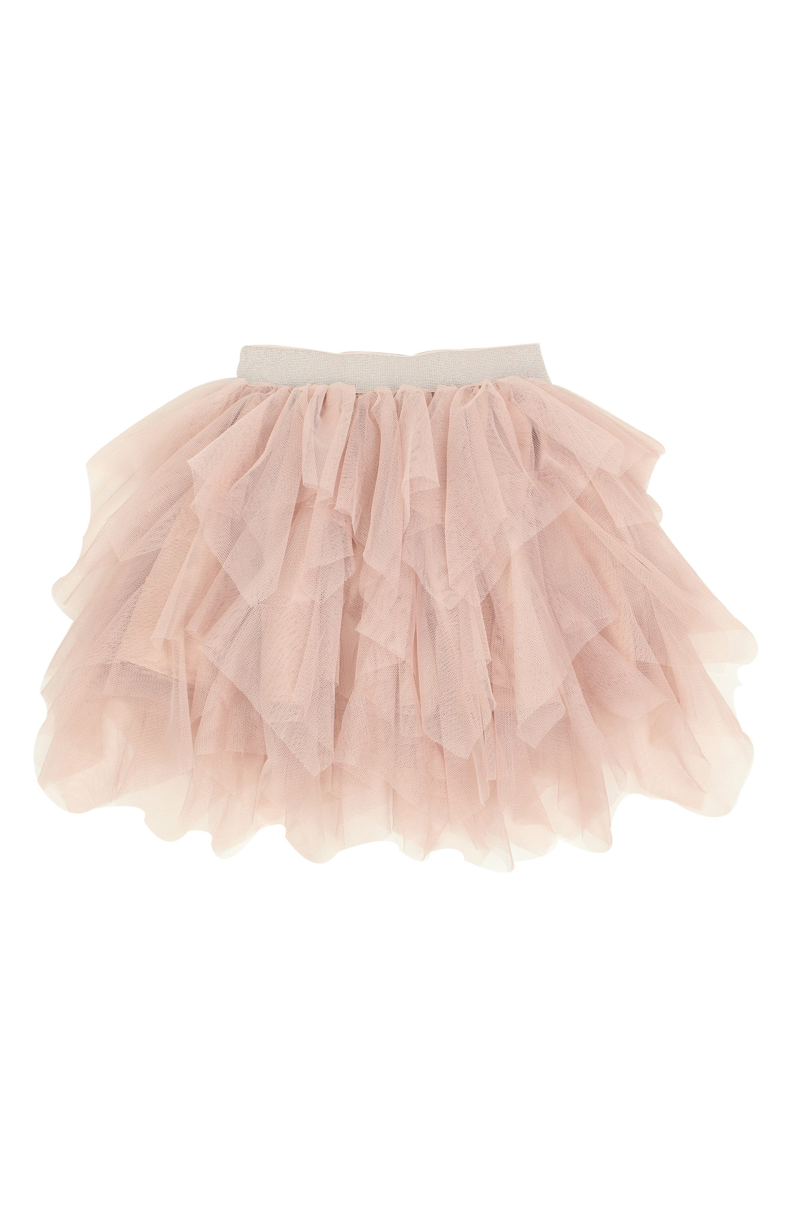Tiered Tulle Skirt,                         Main,                         color, Peach