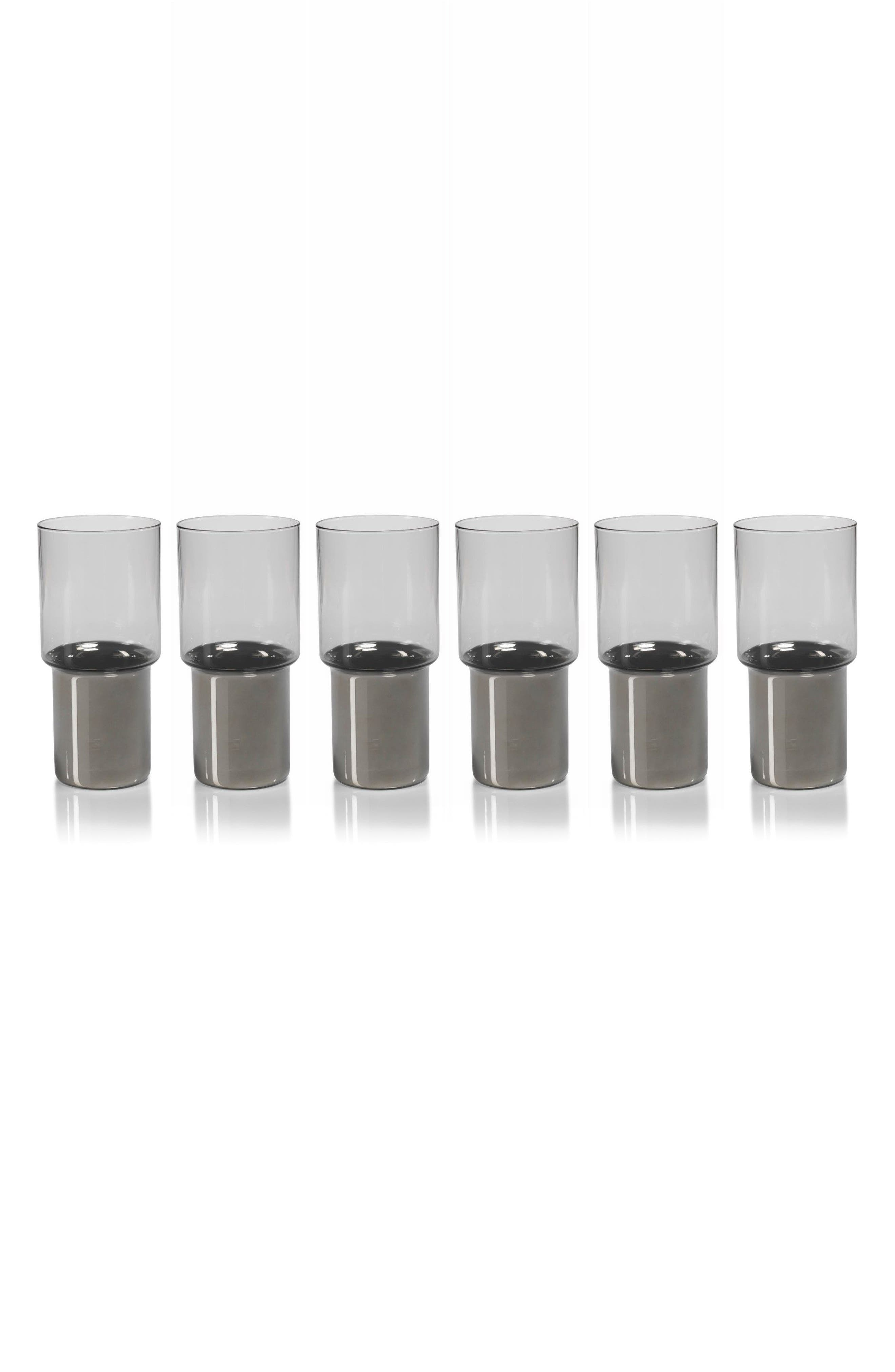 Como Set of 6 Highball Glasses,                         Main,                         color, Clear/ Grey/ Silver