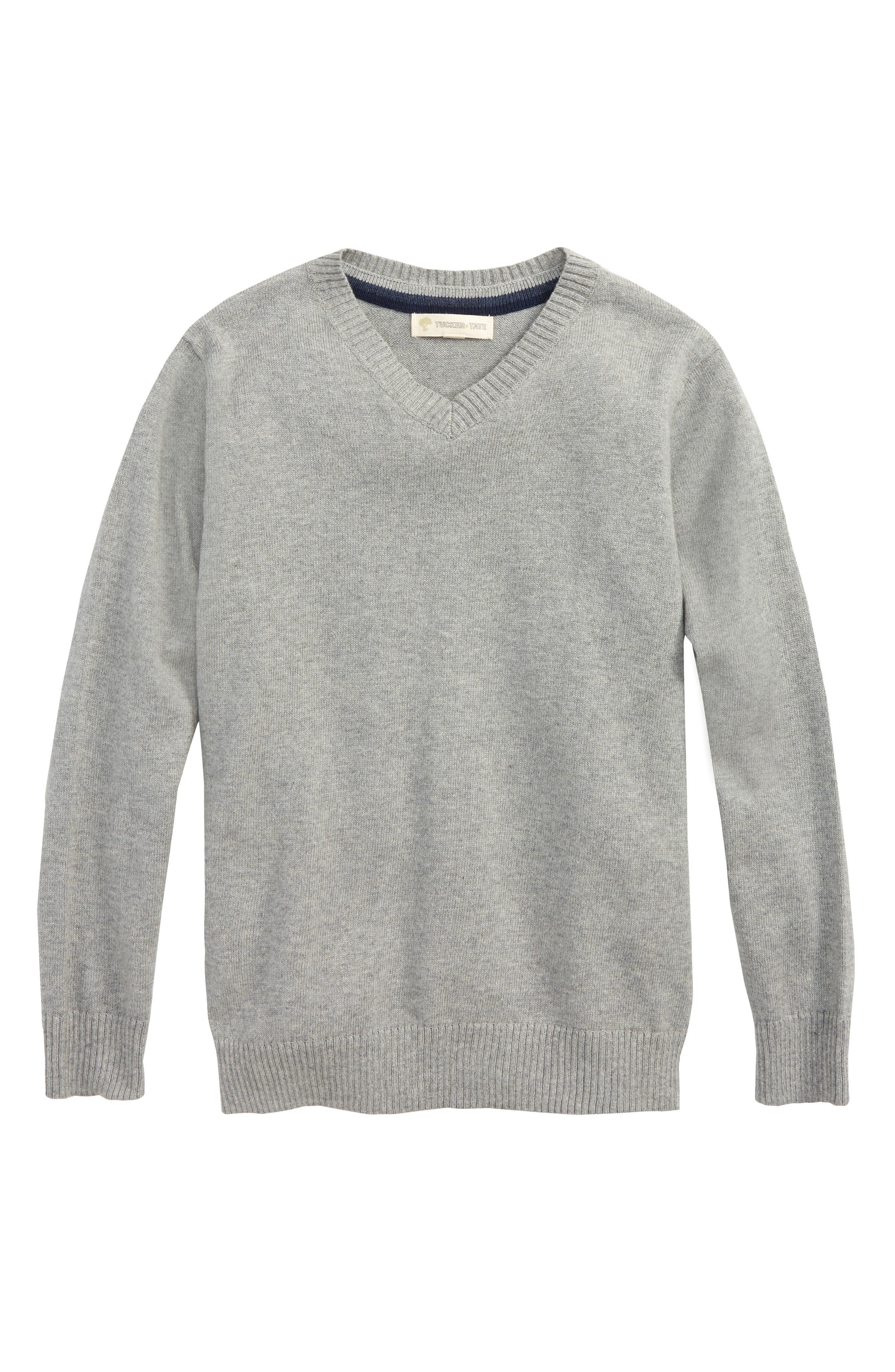 V-Neck Sweater,                             Main thumbnail 1, color,                             Grey Medium Heather