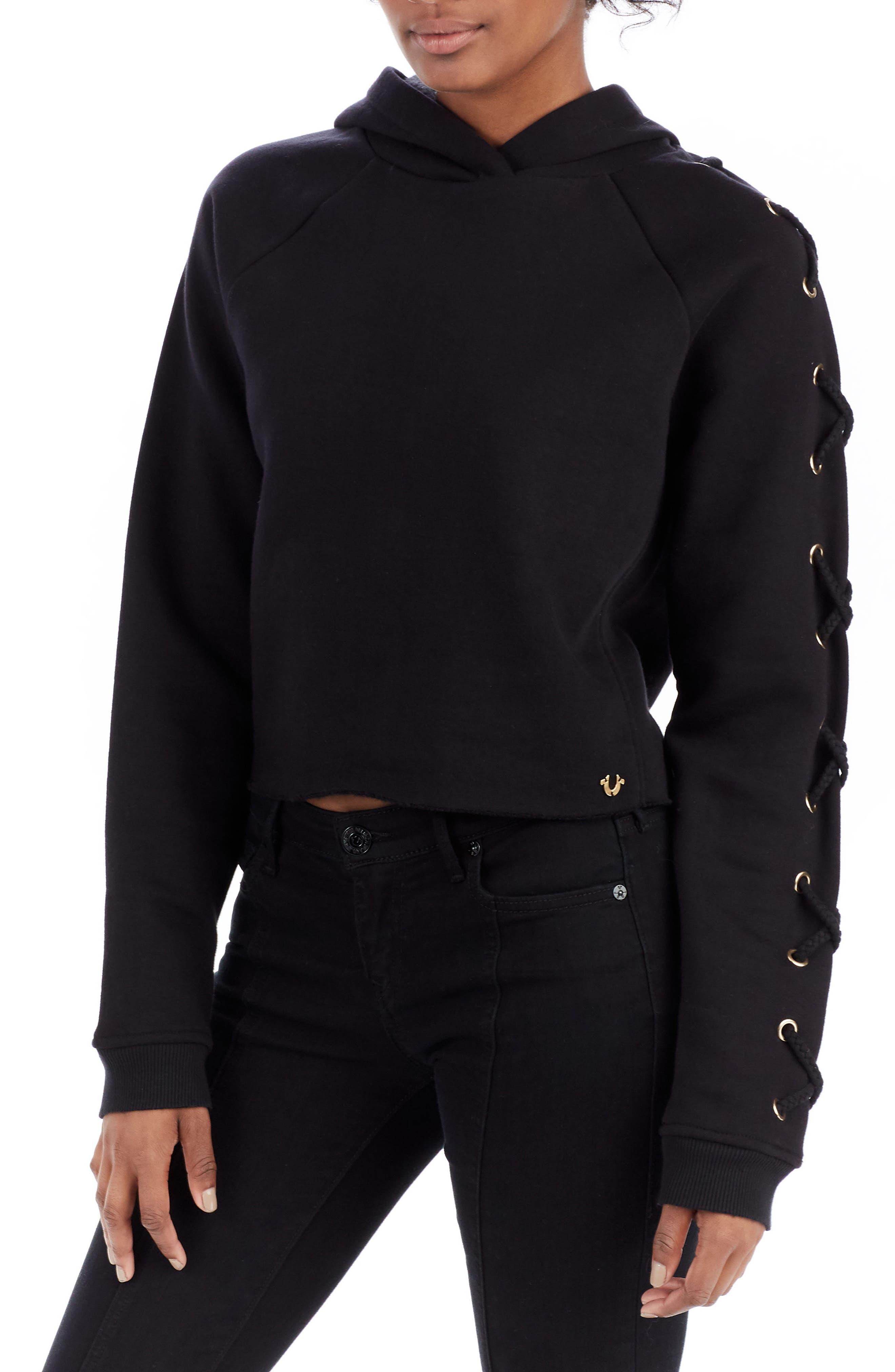 Lace-Up Hoodie,                         Main,                         color, Black