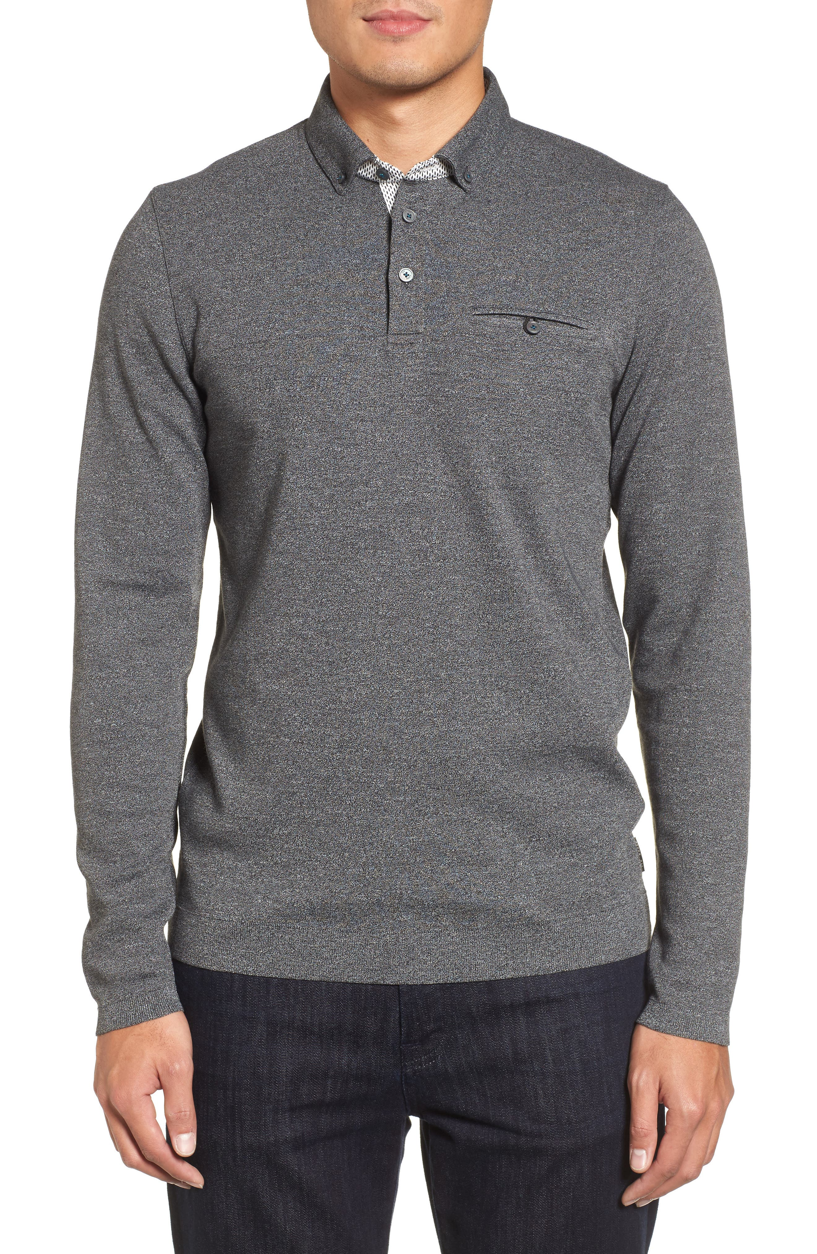 Yamway Modern Slim Fit Long Sleeve Polo,                         Main,                         color, Black