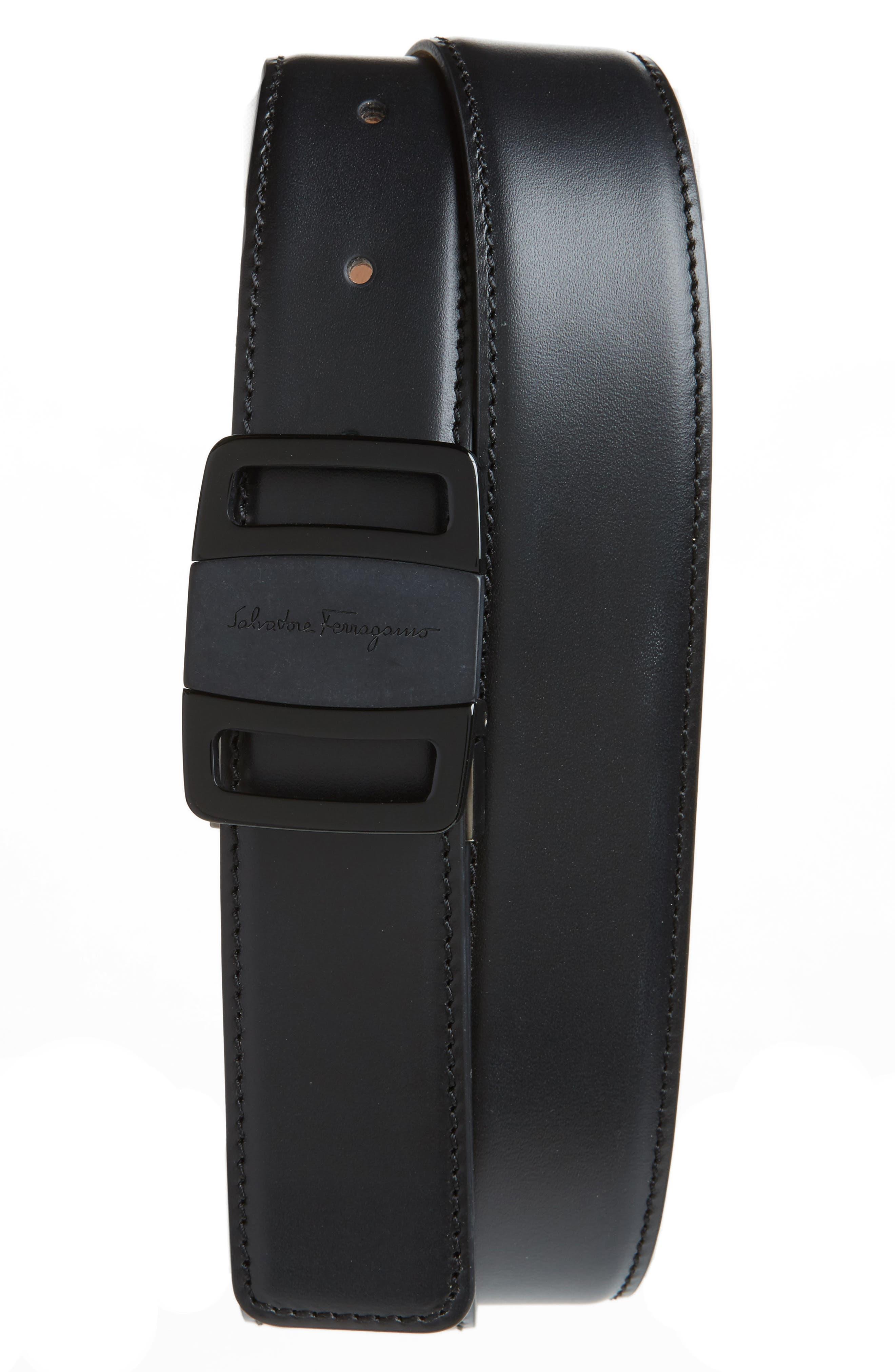 Vara Buckle Leather Belt,                         Main,                         color, Black