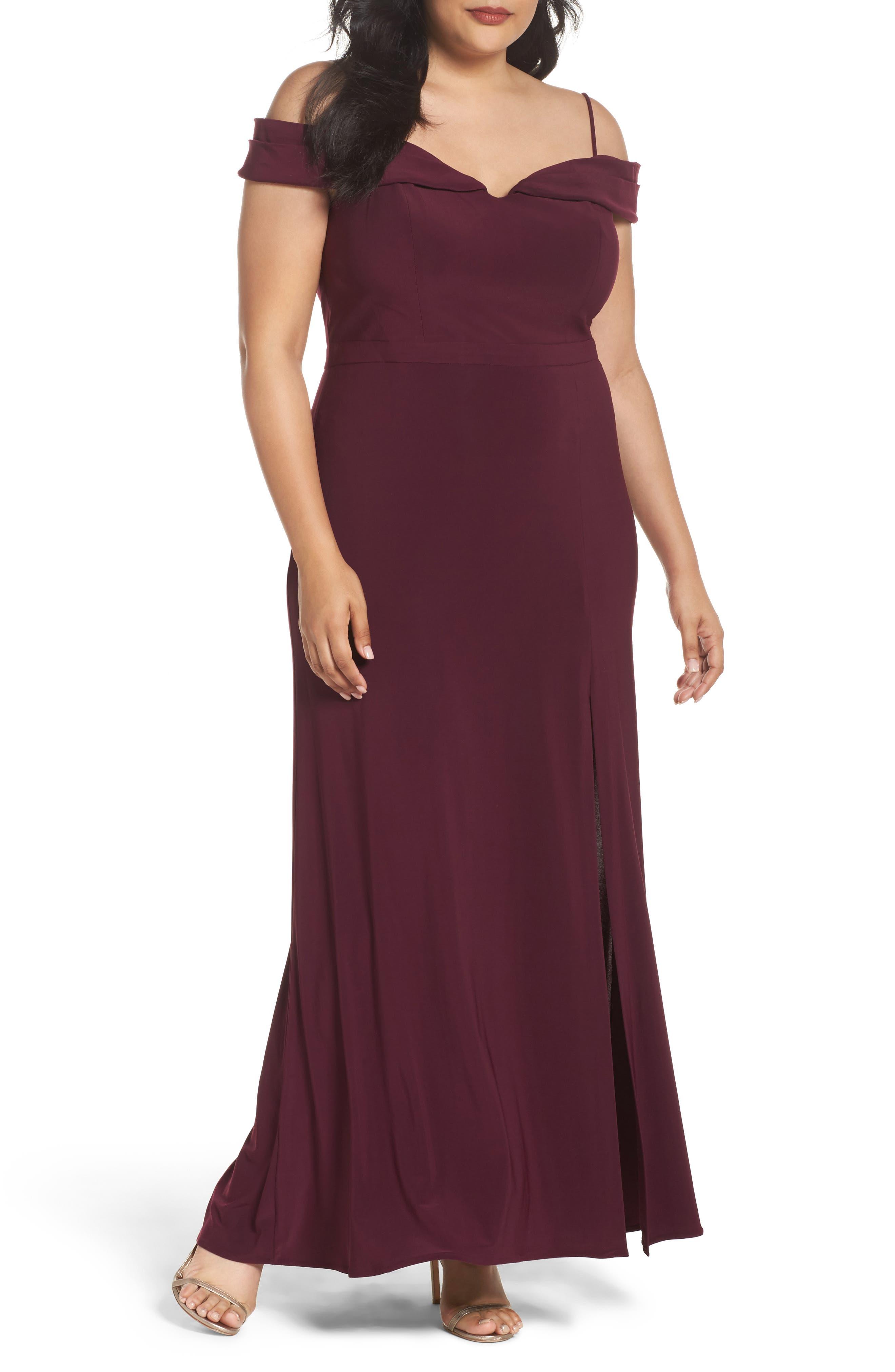 Morgan & Co. Long Off the Shoulder Gown (Plus Size)