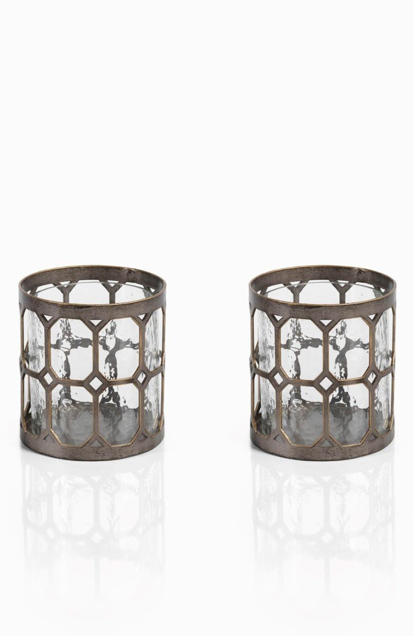 Loire Set of 2 Hurricane Candle Holders,                         Main,                         color, Metallic/ Silver/ Grey