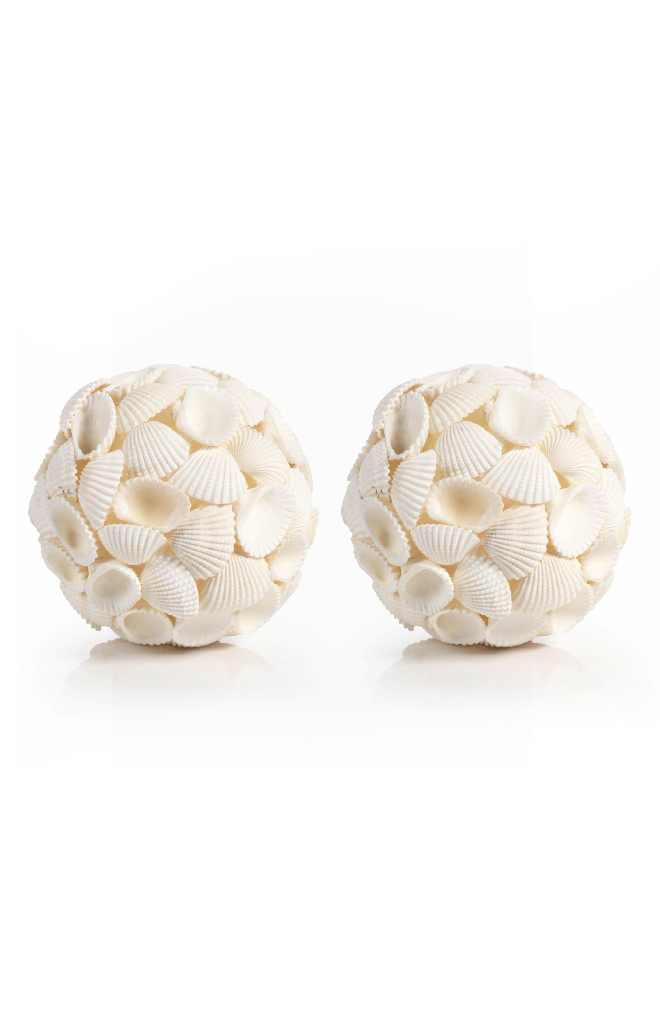 Boracay Set of 2 Shell Decorations,                         Main,                         color, Ivory