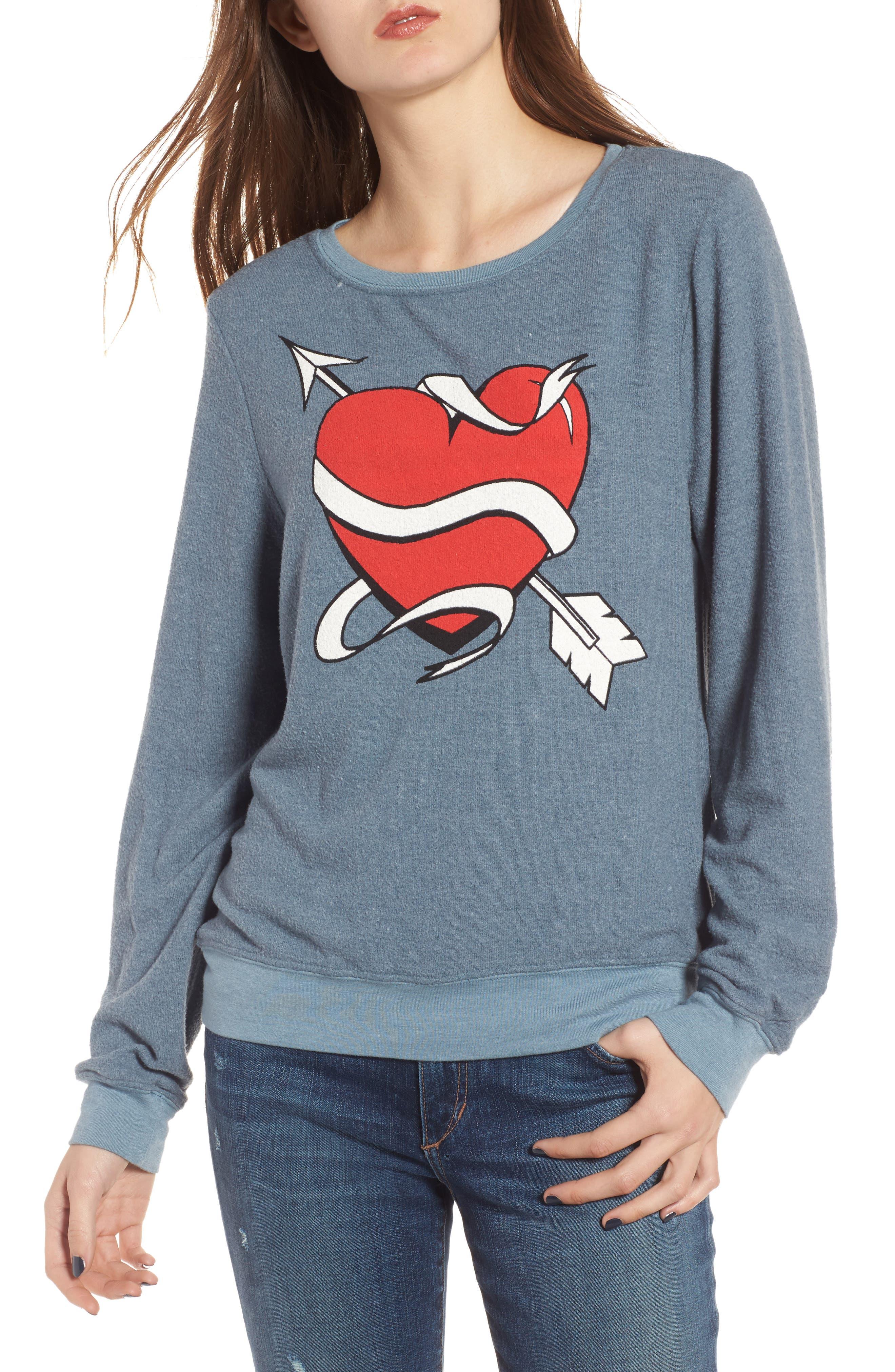 Heart & Arrows Sweatshirt,                         Main,                         color, Blue Jean