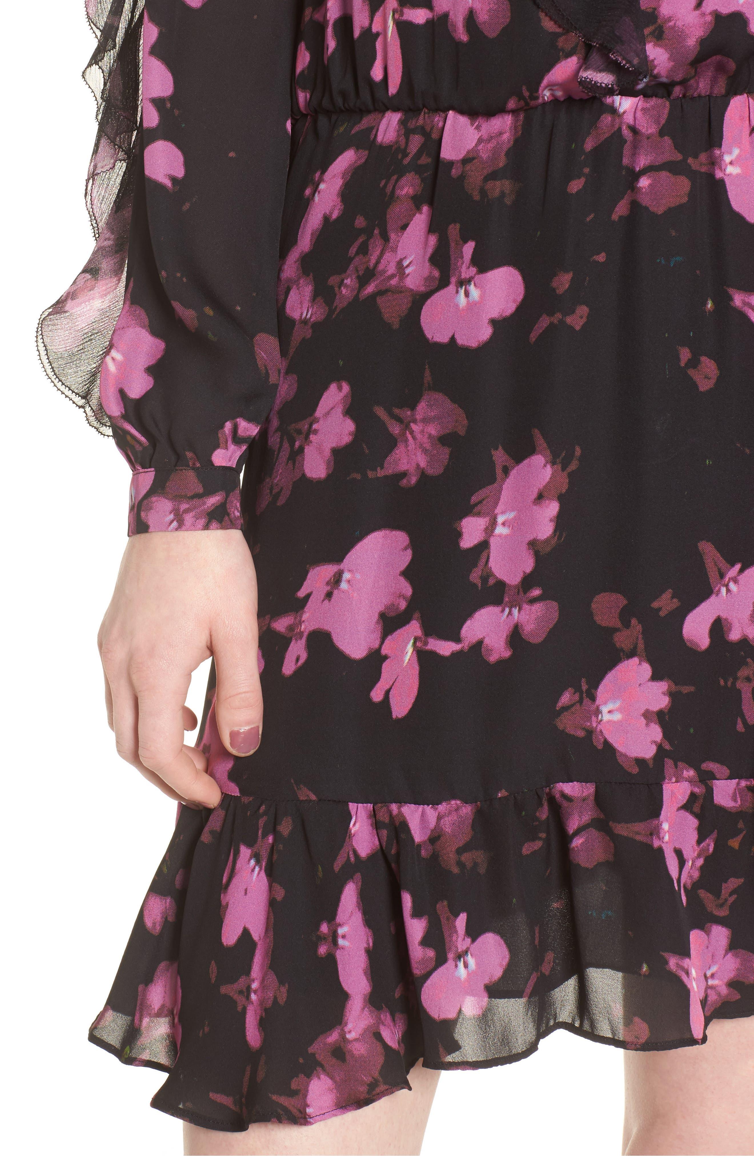 Zinnia Ruffle Silk Dress,                             Alternate thumbnail 4, color,                             Petalbloom